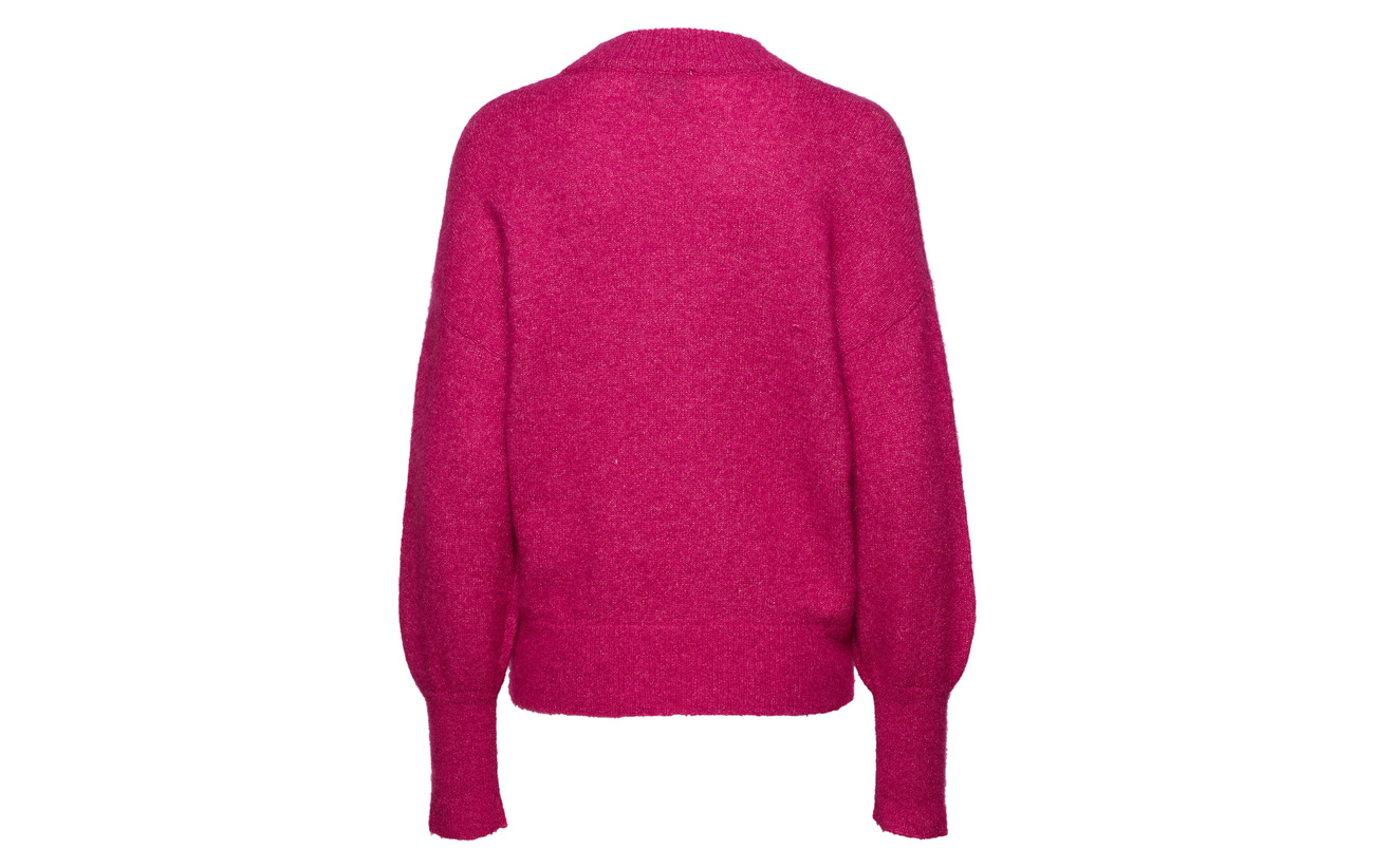 Fuchsia 4 Polyester Yarn Polyamide 24 5 Mohair Loose Female Laine Second Métallique O neck 32 Elastane Knit Minnelli Red 3 qxZ16Y