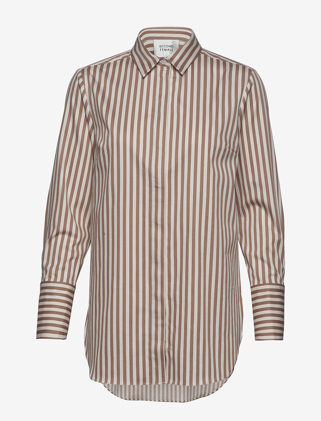 Second Female - Dane Stripe Shirt - long-sleeved shirts - tiger`s eye