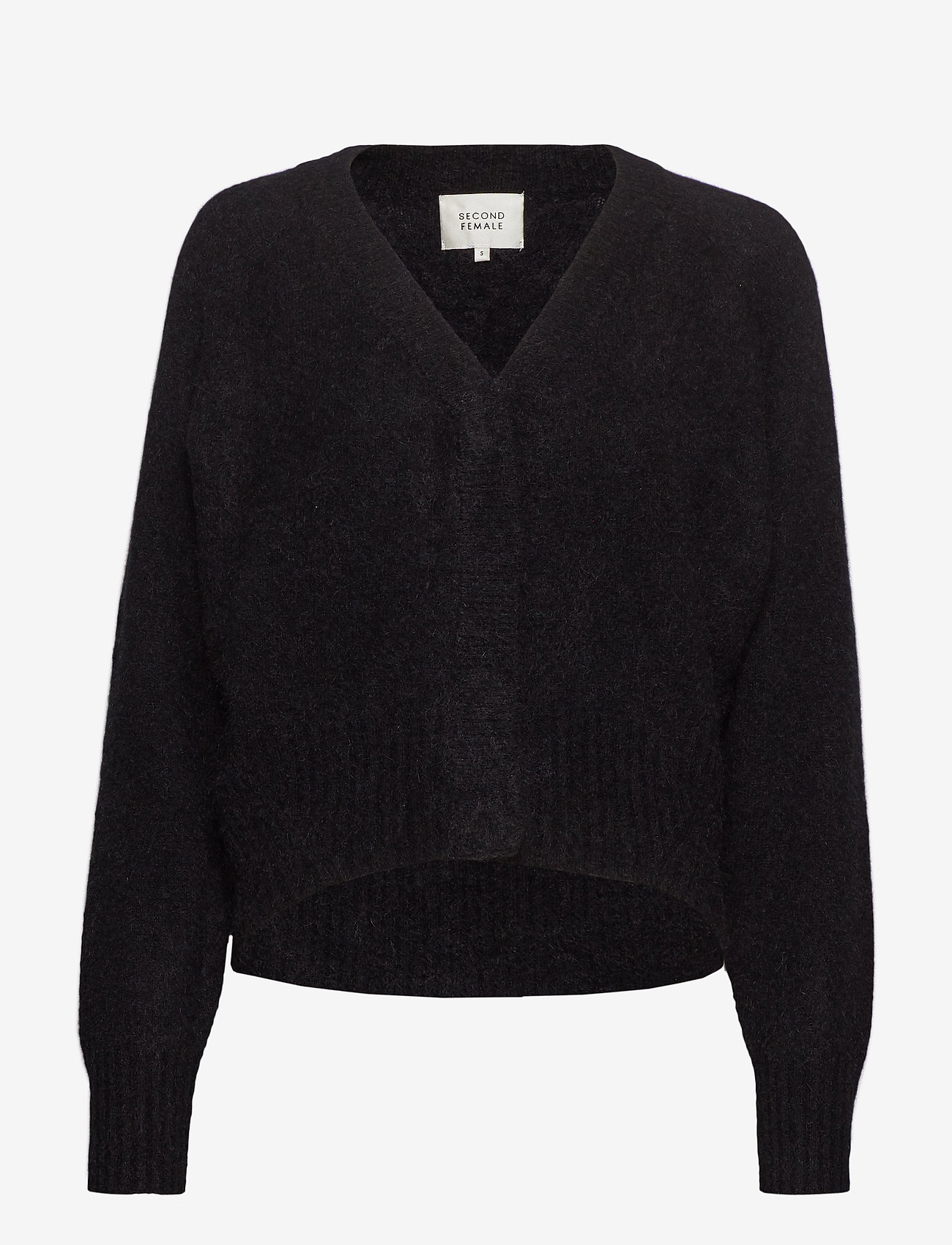 Second Female - This cardigan with deep V-neck is made from a soft  mohair-w - gensere - black - 0