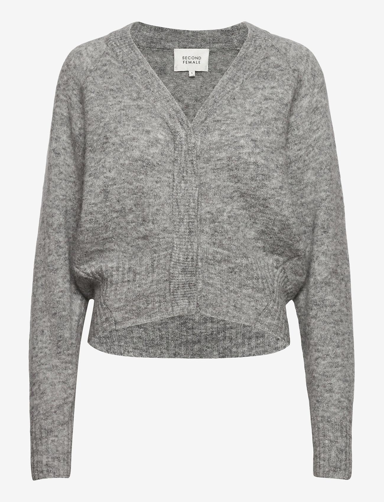 Second Female - Brook Knit Boxy Cardigan - cardigans - grey melange - 0