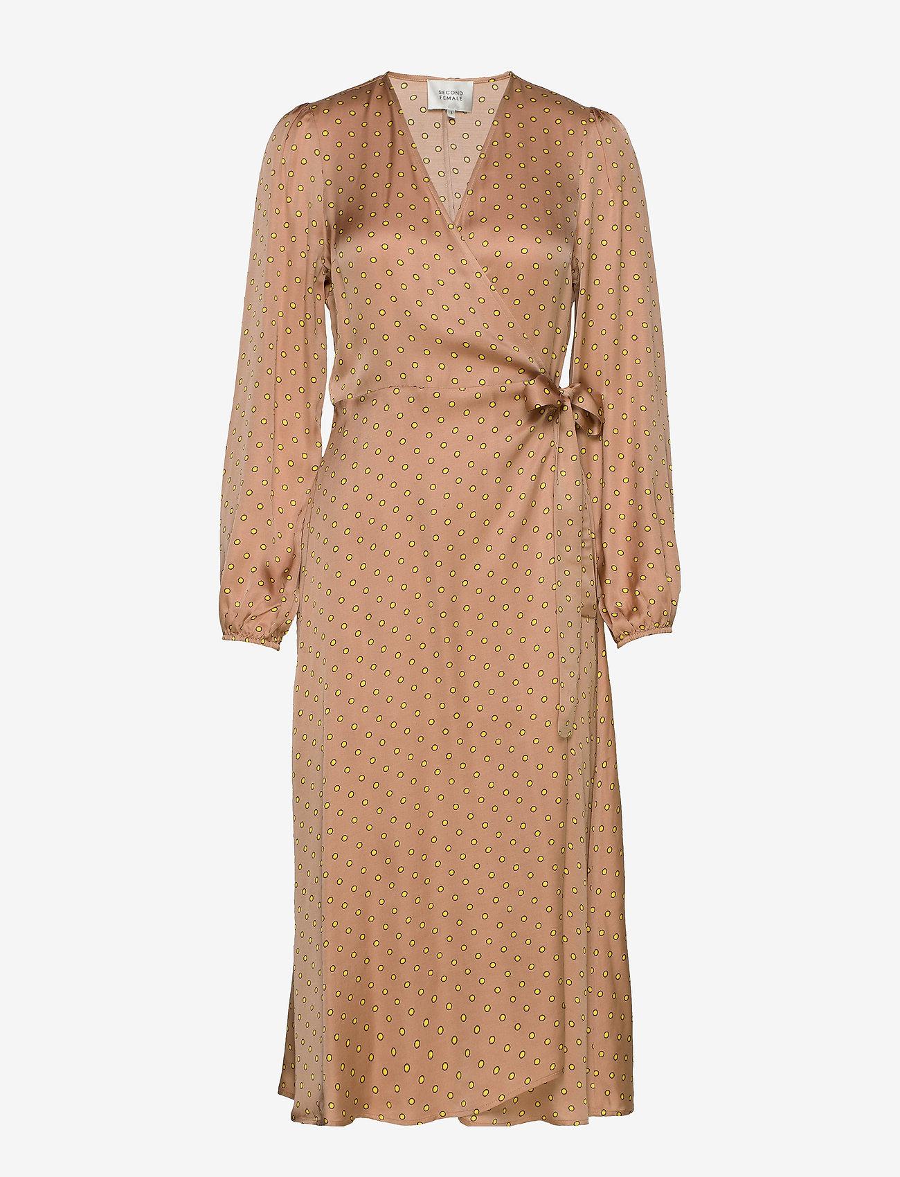 Second Female - Berri LS Wrap Dress - omlottklänningar - praline - 0