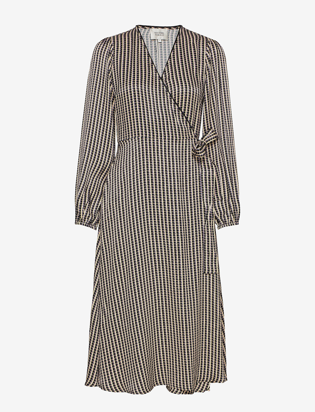 Second Female - Ed LS Wrap Dress - omlottklänningar - black - 0