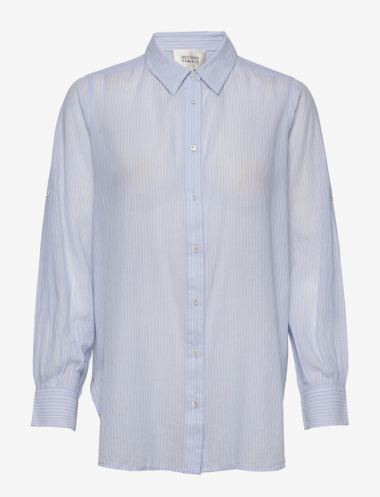 Second Female - Dominus LS Shirt - langærmede skjorter - chambray blue - 0
