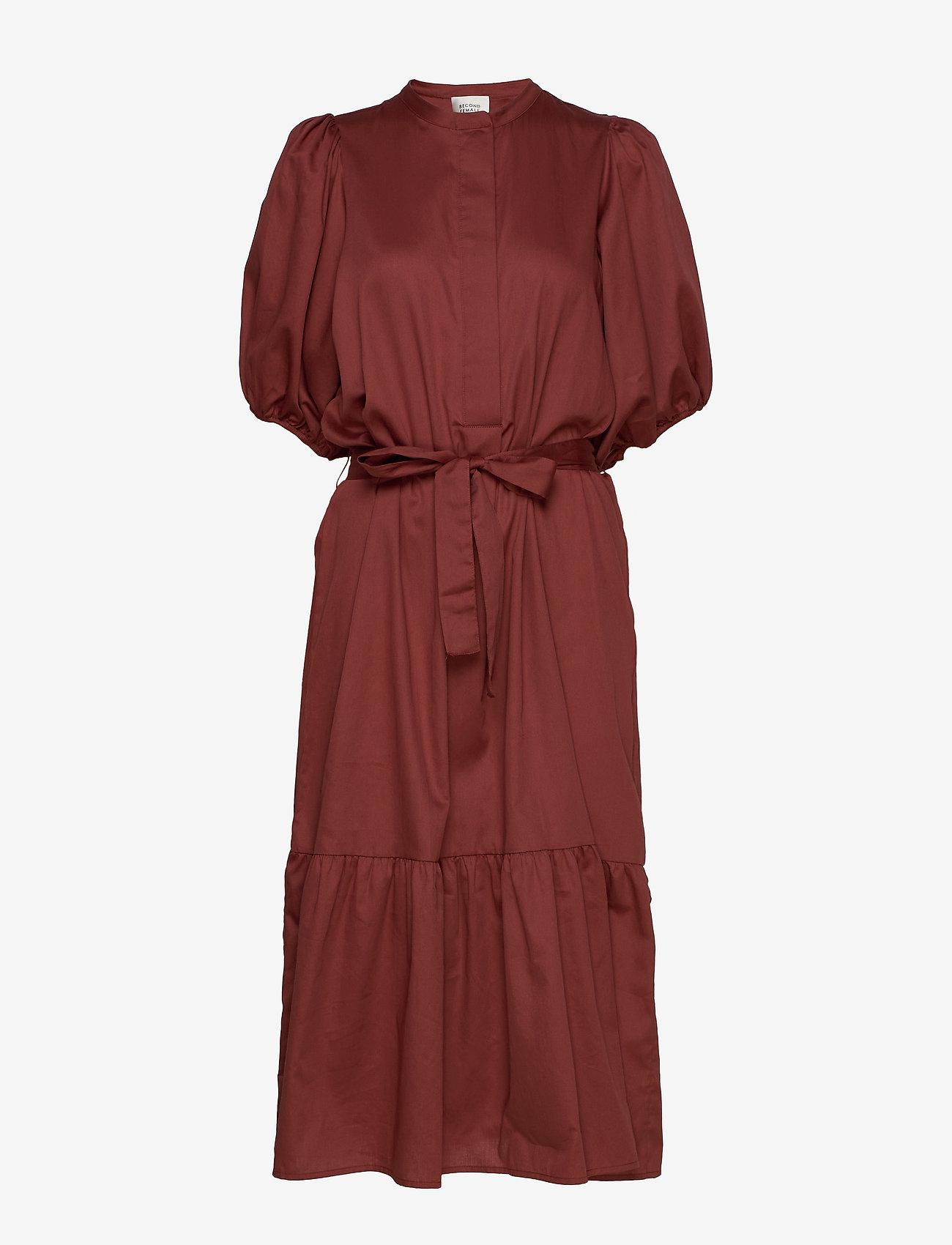 Second Female - Aimee SS Midi Dress - midi kjoler - henna - 1