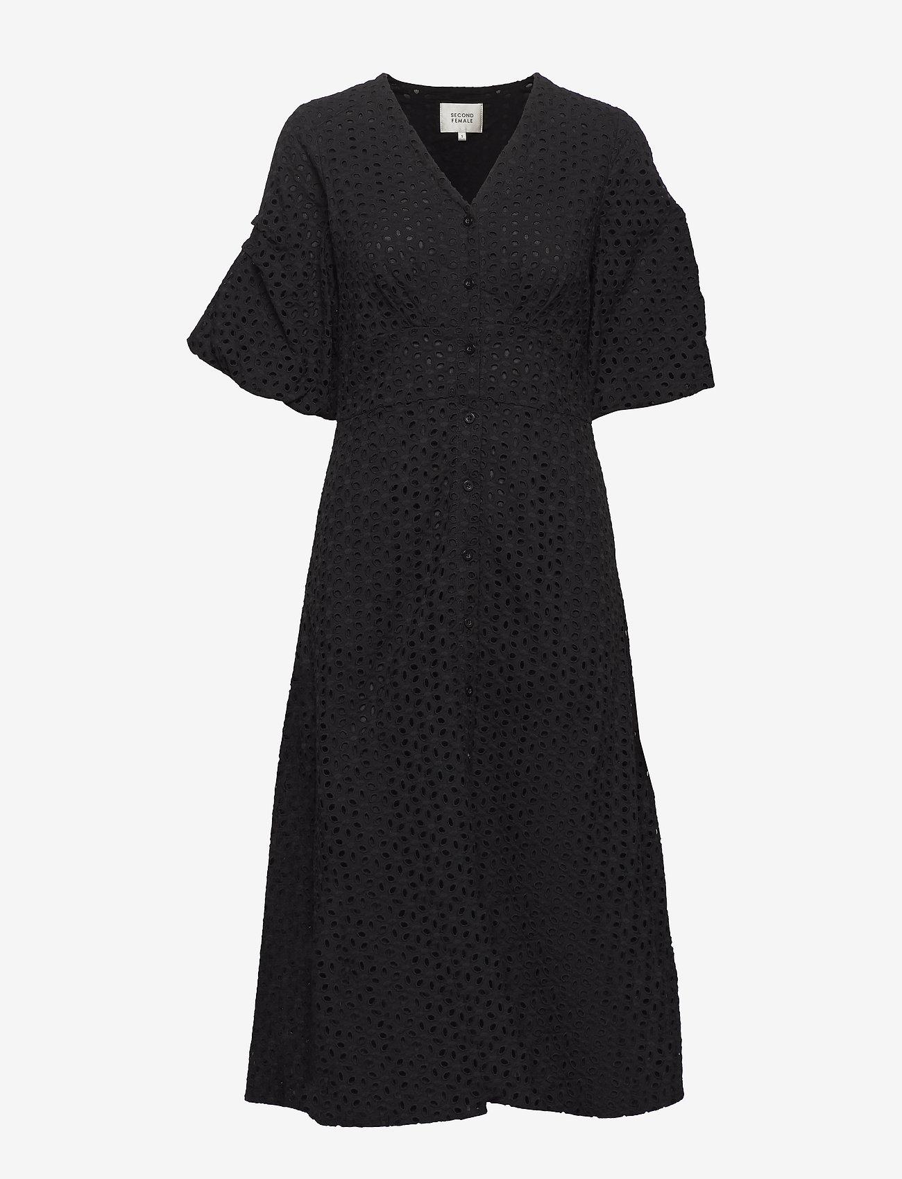 Second Female - Milly SS Dress - midiklänningar - black - 0