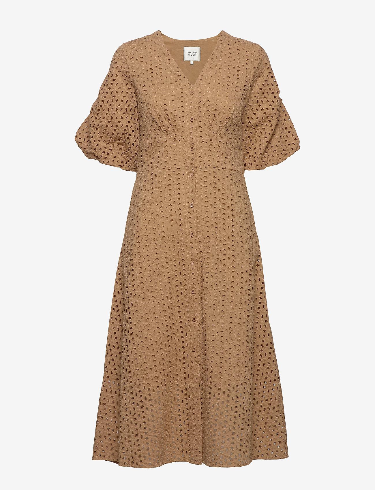 Second Female - Milly SS Dress - midiklänningar - praline - 0