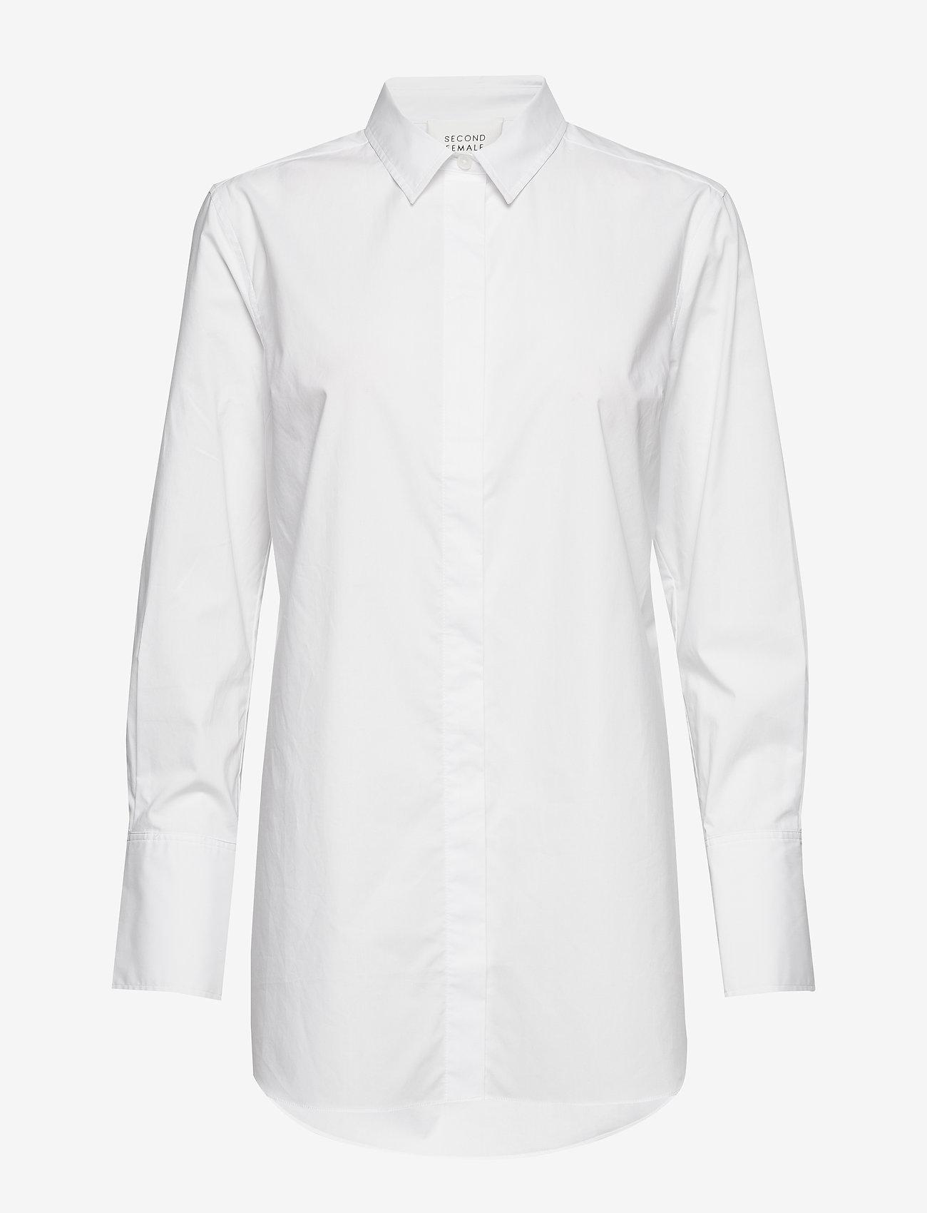Second Female - Larkin LS Classic Shirt - långärmade skjortor - white alyssum - 0