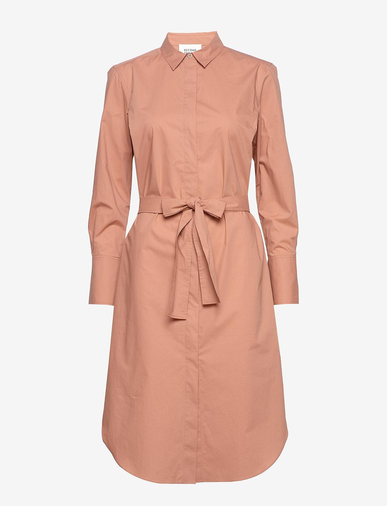 Second Female - Larkin LS Midi Shirt Dress - midiklänningar - mocha mousse - 1