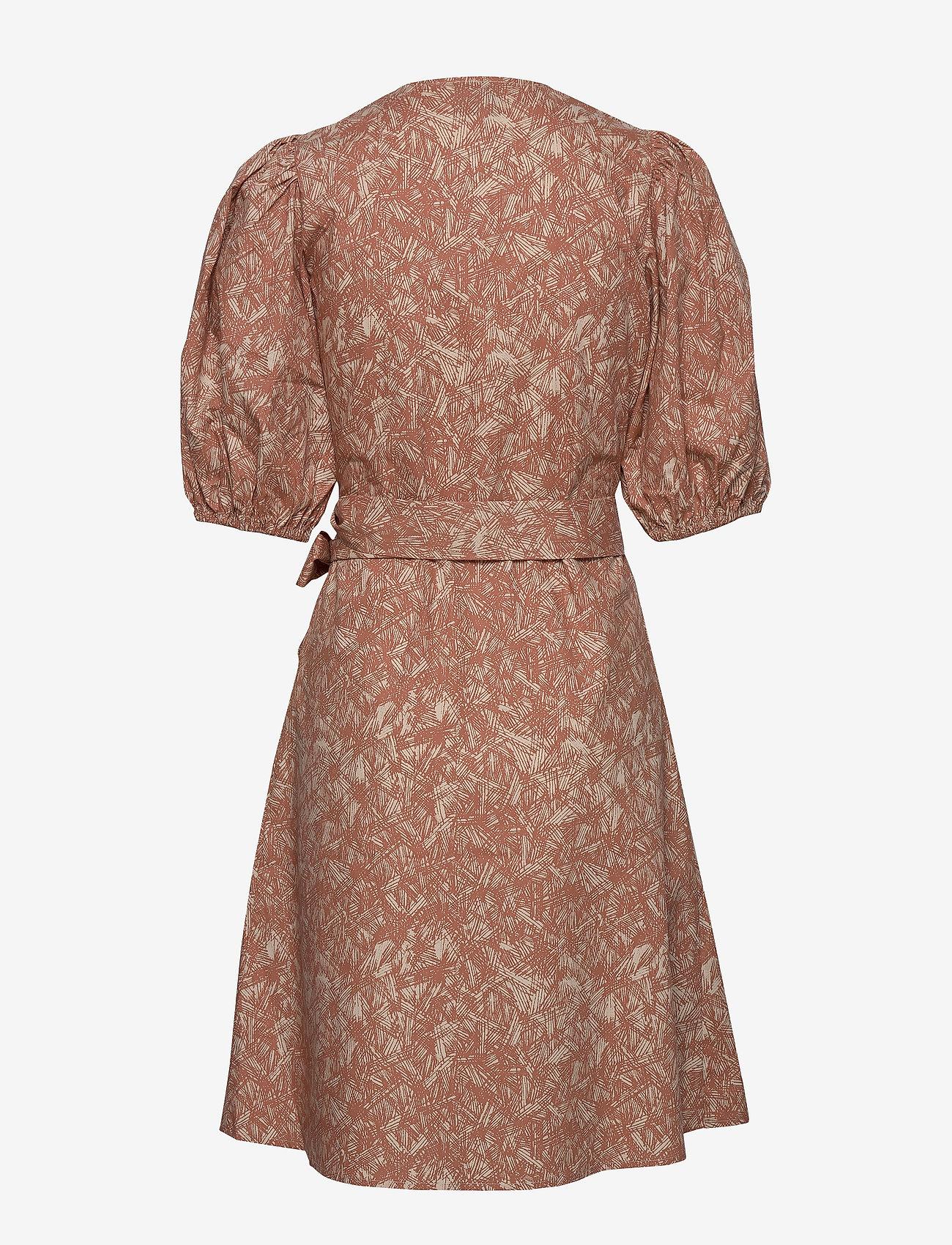 Second Female - Straw SS Short Dress - slå-om-kjoler - mocha mousse - 1