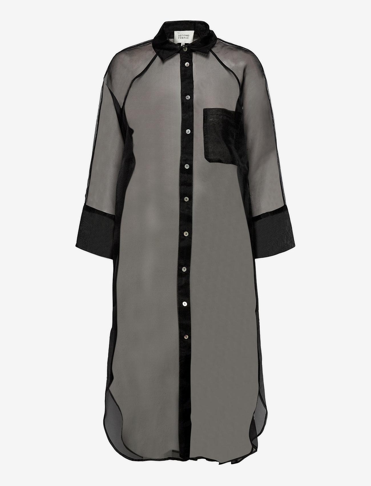 Second Female - Opal Shirt Dress - midiklänningar - black - 1