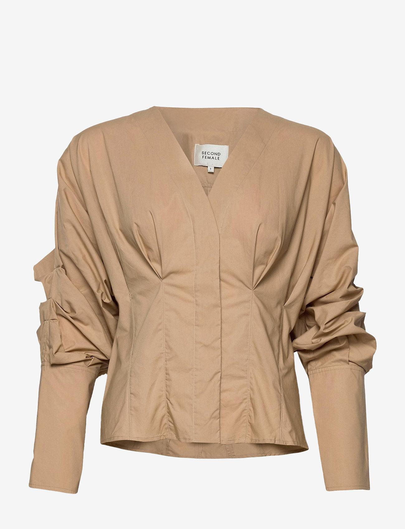 Second Female - Addison Shirt - långärmade blusar - ginger root - 1