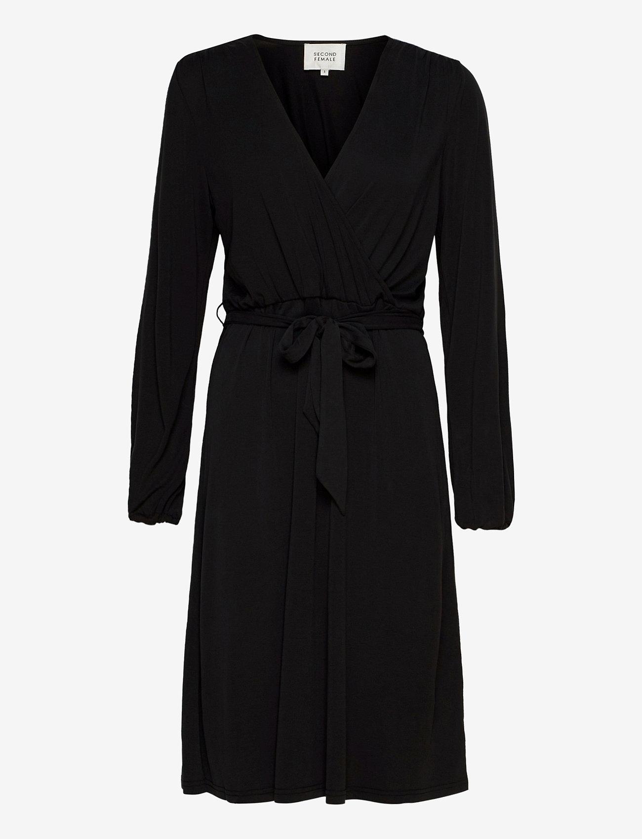 Second Female - Missa Drape Dress - midiklänningar - black - 0
