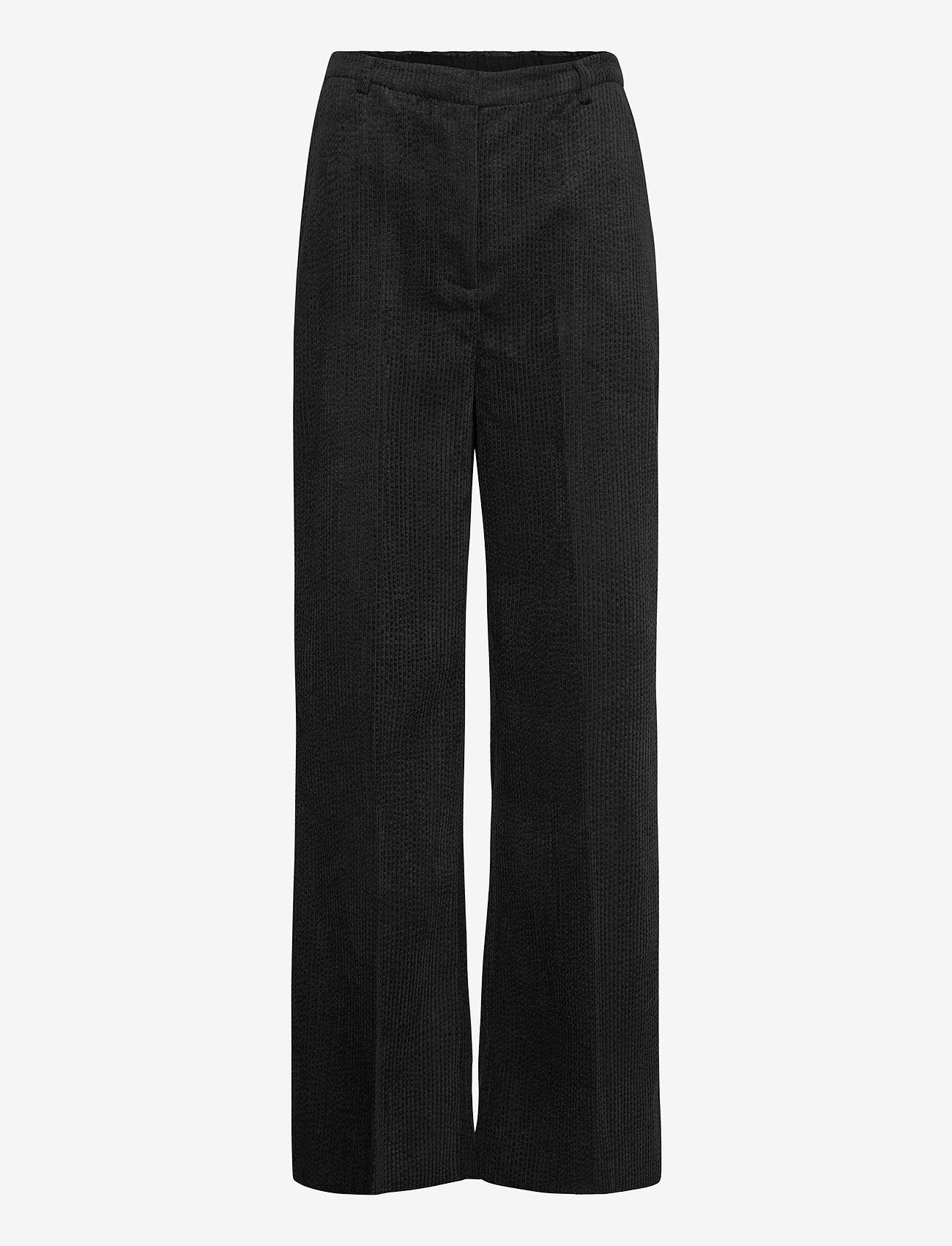 Second Female - Boyas New Trousers - bukser med brede ben - black - 1