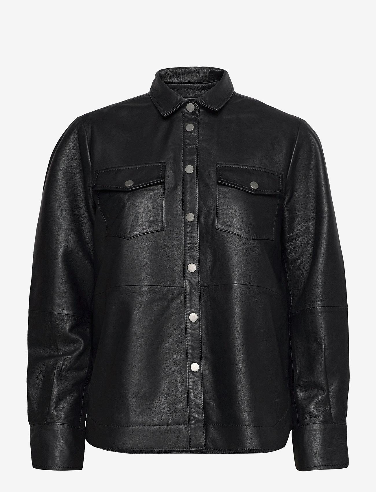 Second Female - Gitte Leather Shirt - langærmede skjorter - black - 1