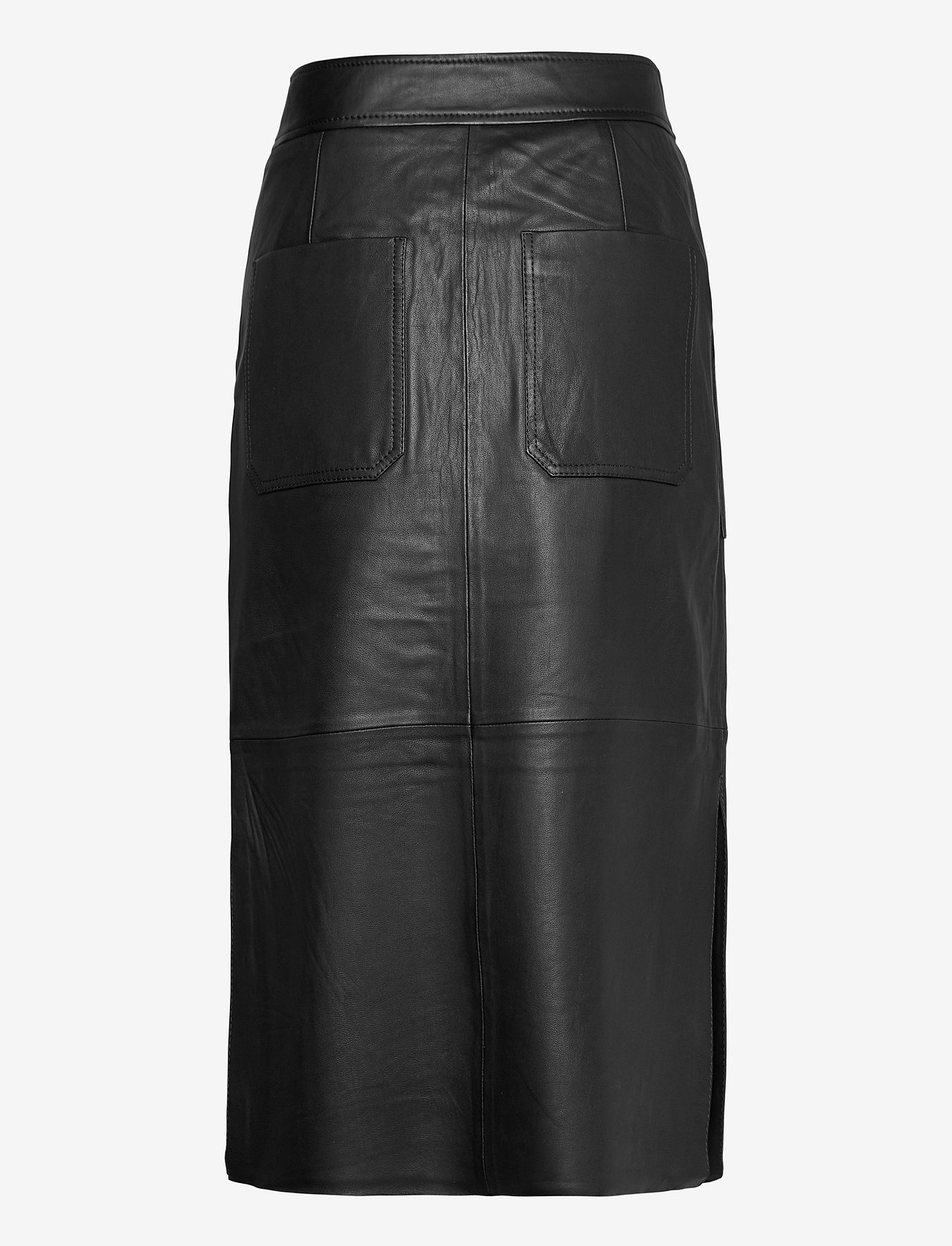 Second Female - Francie Midi Leather Skirt - midinederdele - black - 1