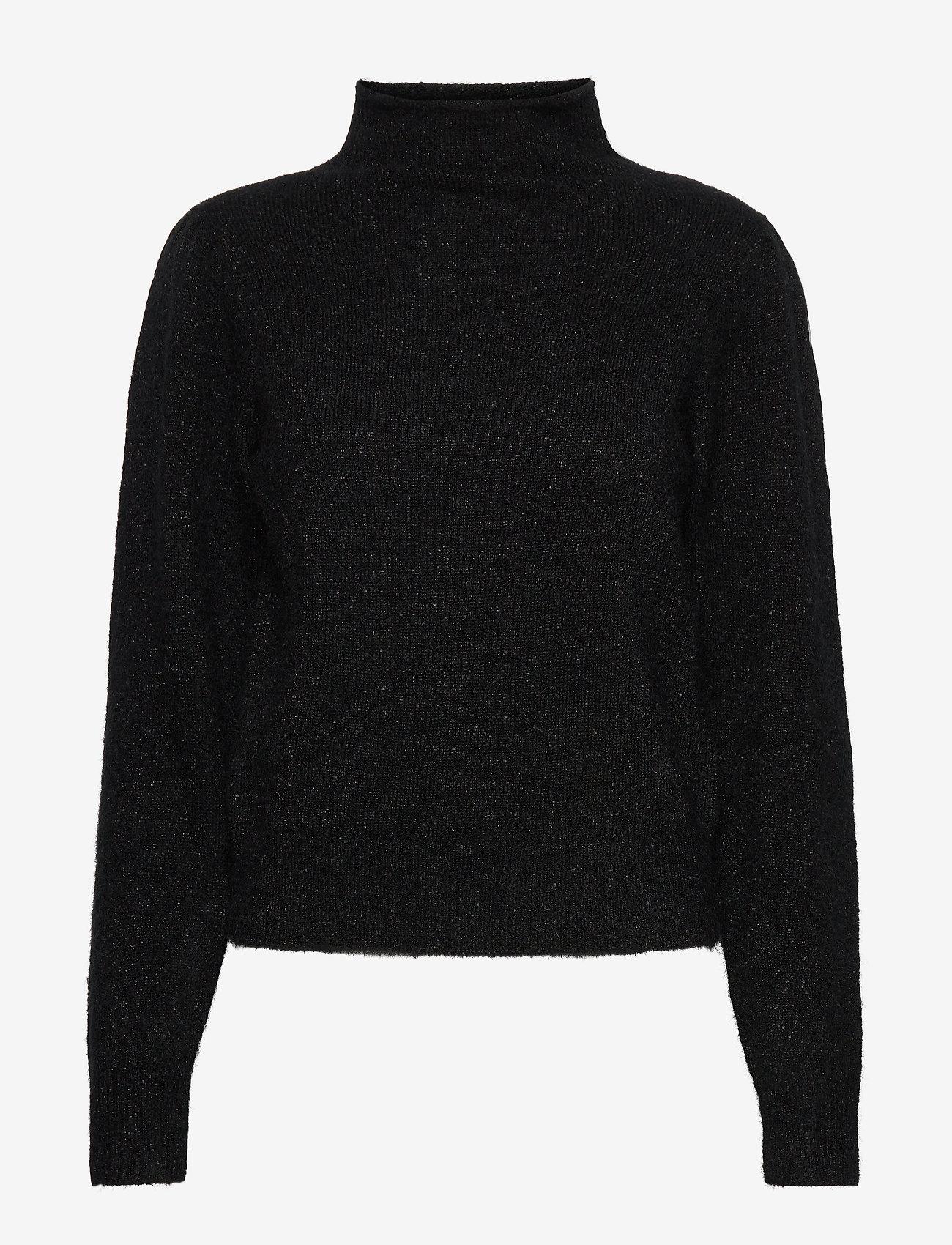 Second Female - Brooky Knit Glitter Volumen T-Neck - rullekraver - black - 0