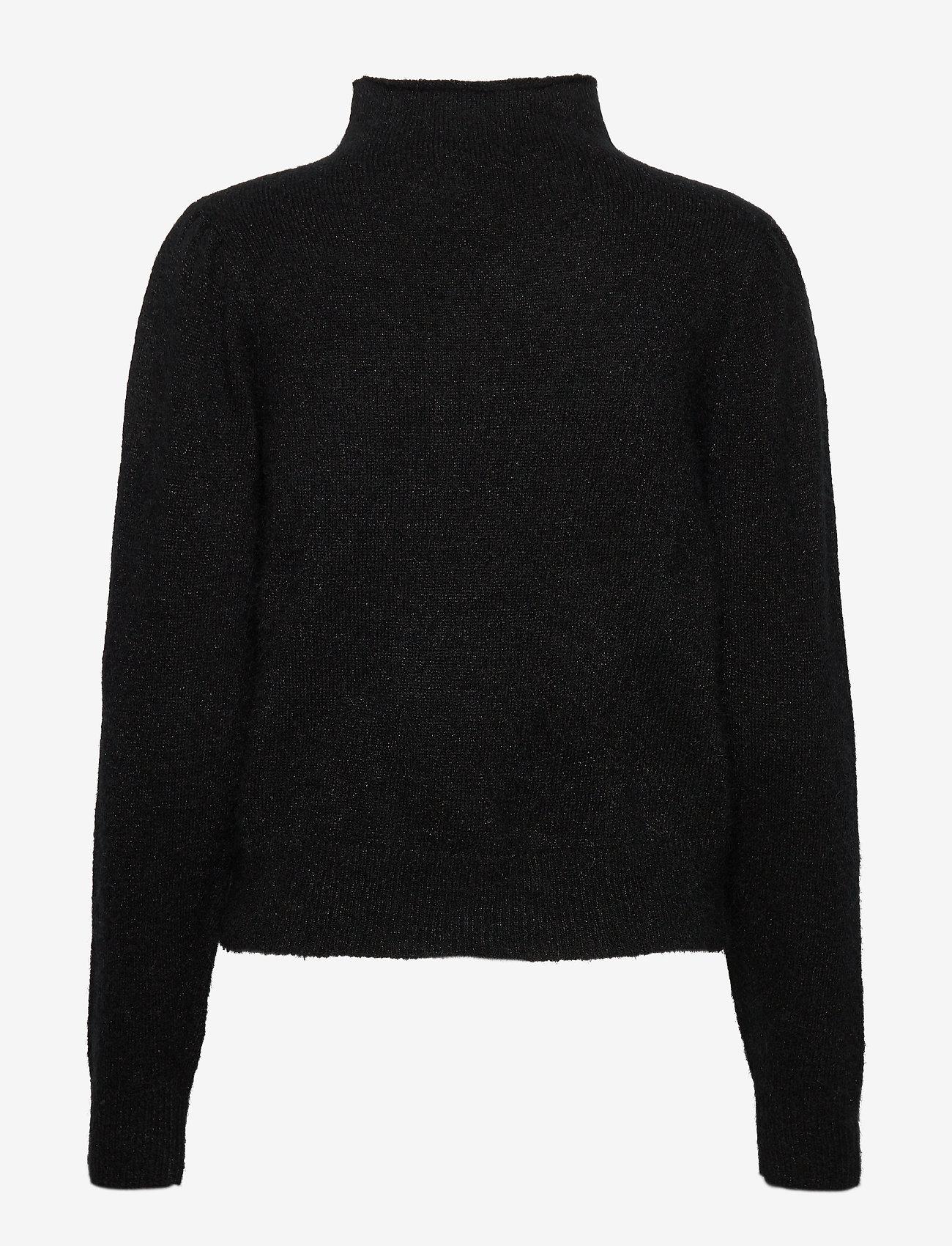 Second Female - Brooky Knit Glitter Volumen T-Neck - rullekraver - black - 1