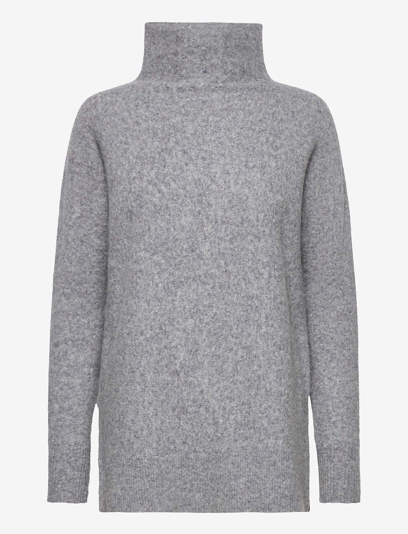 Second Female - This knit with T-neck is made in a soft wool  blend. It has - rullekraver - light grey melange - 0