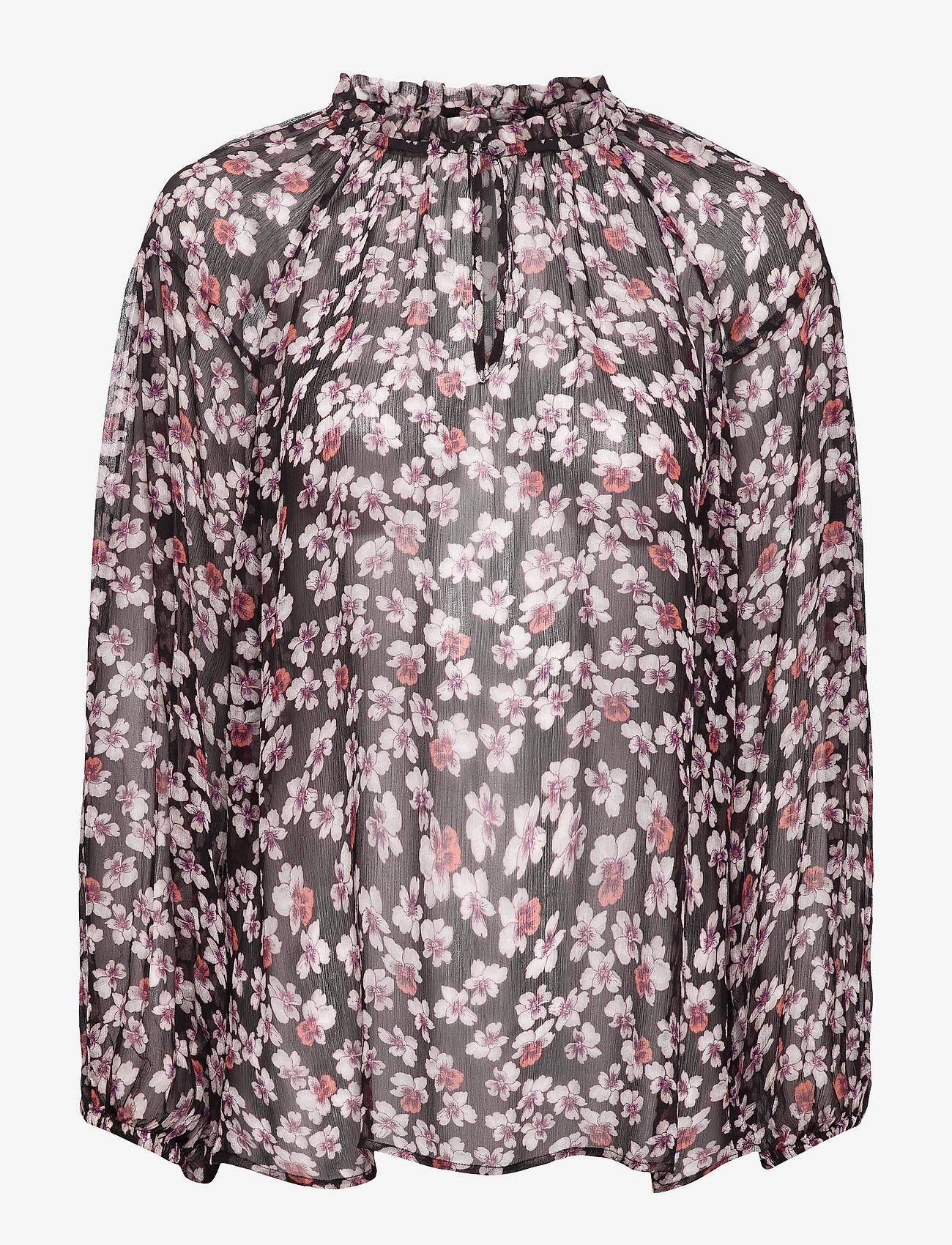 Second Female - Beautiful printed blouse with volumized sleeves, f rills aro - langærmede bluser - black - 0