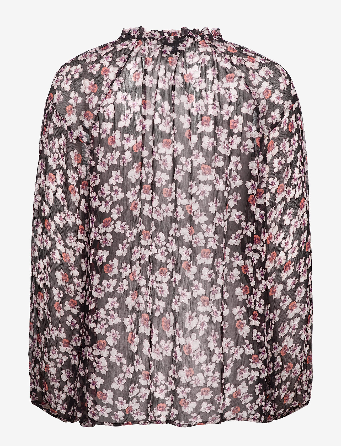 Second Female - Beautiful printed blouse with volumized sleeves, f rills aro - langærmede bluser - black - 1