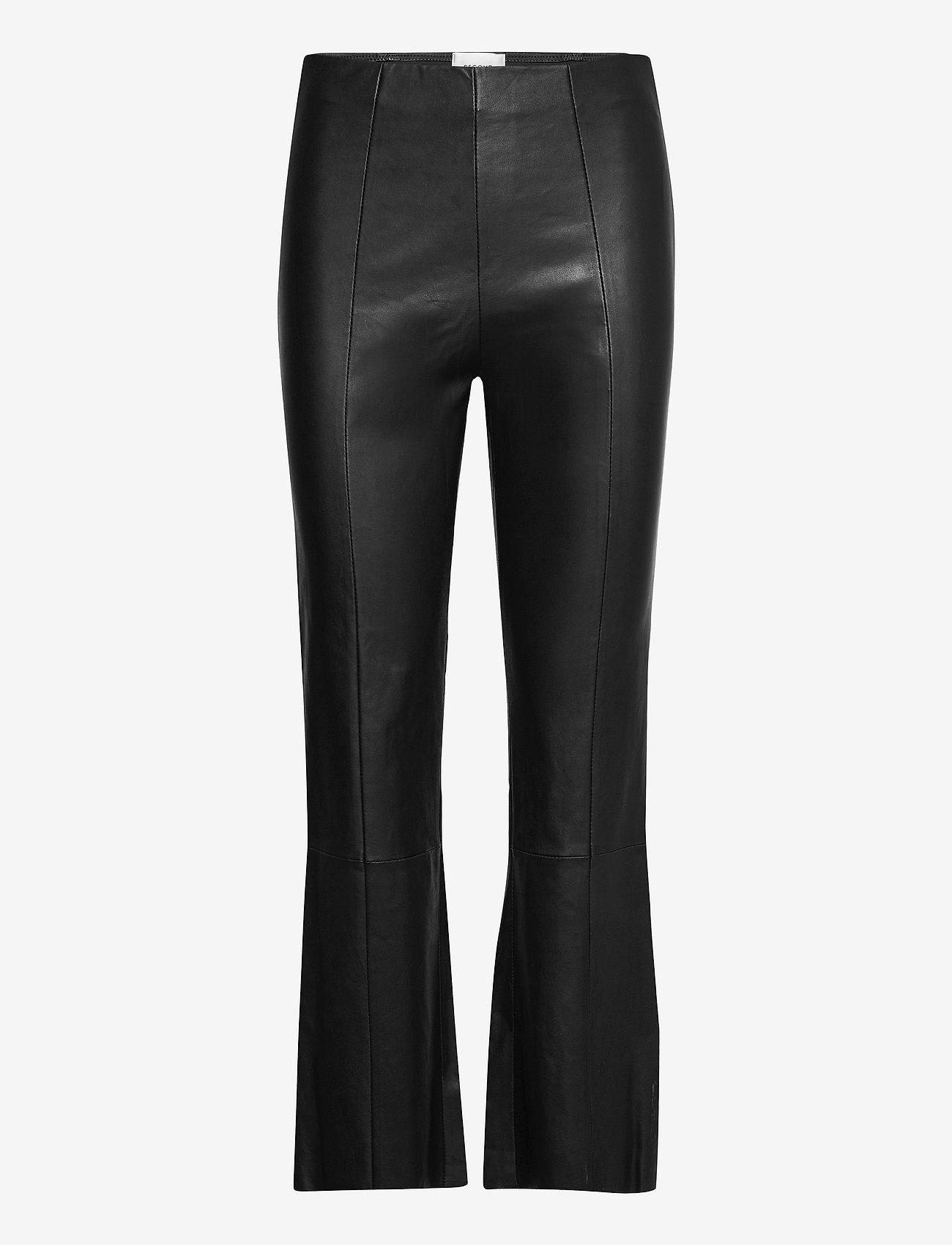 Second Female - Joy Leather Bootcut Leggings - skinnbyxor - black - 0