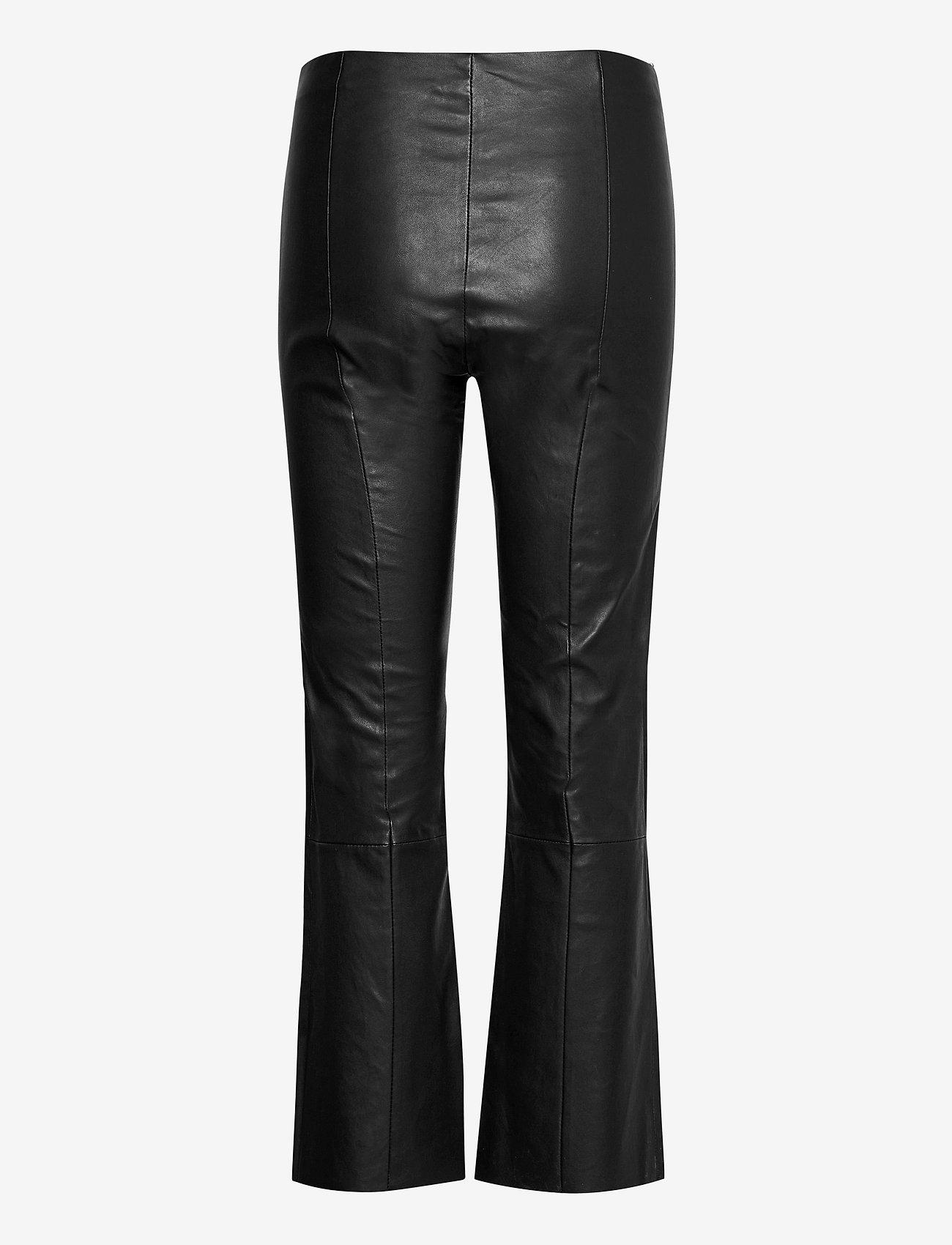 Second Female - Joy Leather Bootcut Leggings - skinnbyxor - black - 1