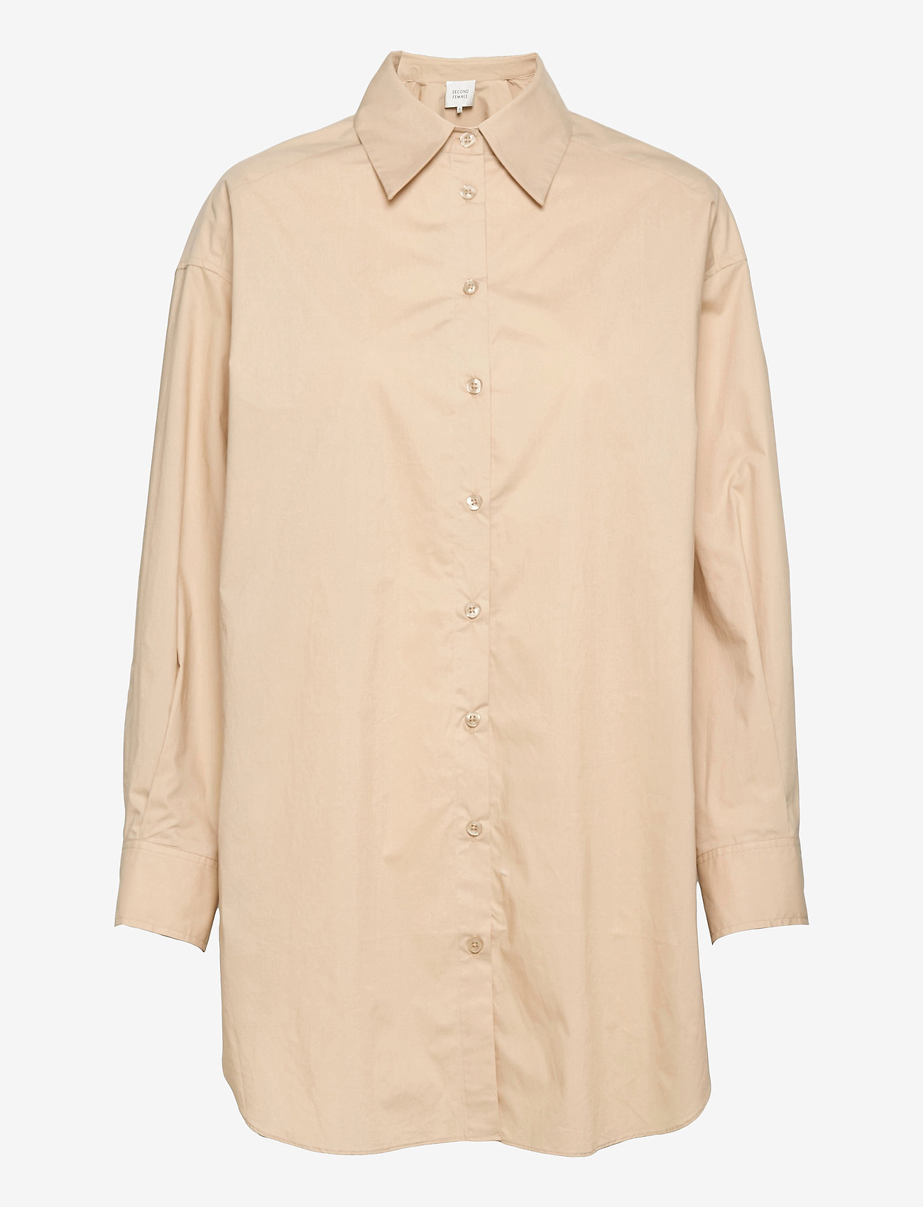 Second Female - Larkin Oversized Shirt - långärmade skjortor - humus - 0