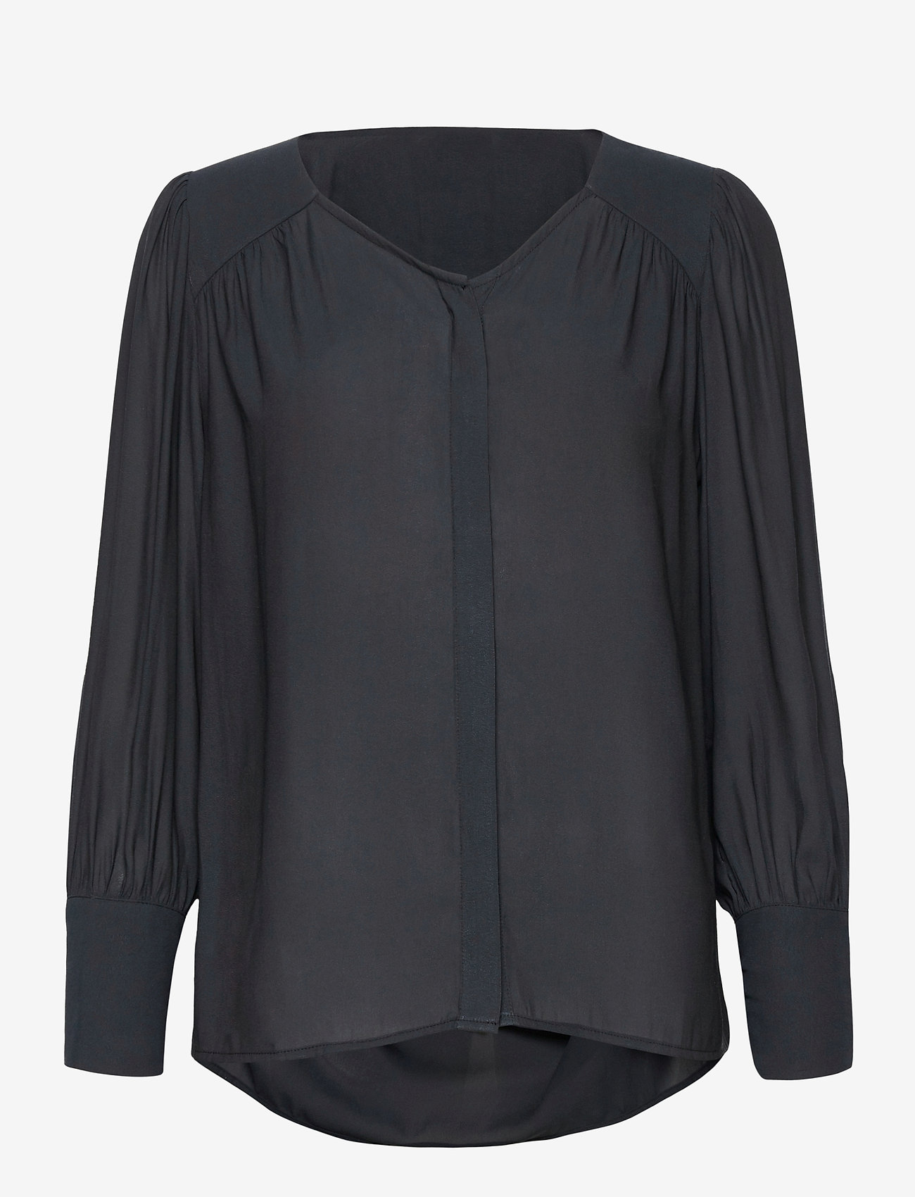 Second Female - This shirt is made in a semi-shiny luxurious  polyester comp - langærmede bluser - black - 0