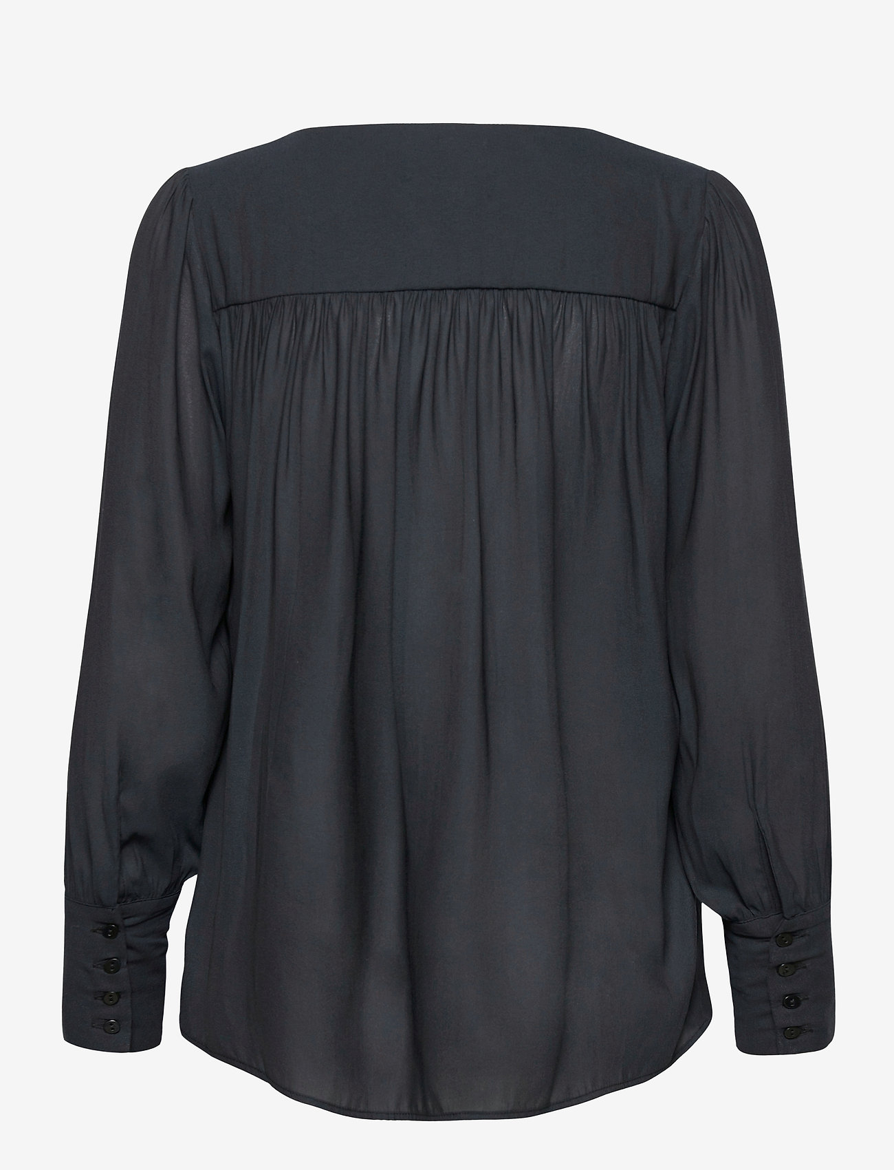 Second Female - This shirt is made in a semi-shiny luxurious  polyester comp - langærmede bluser - black - 1