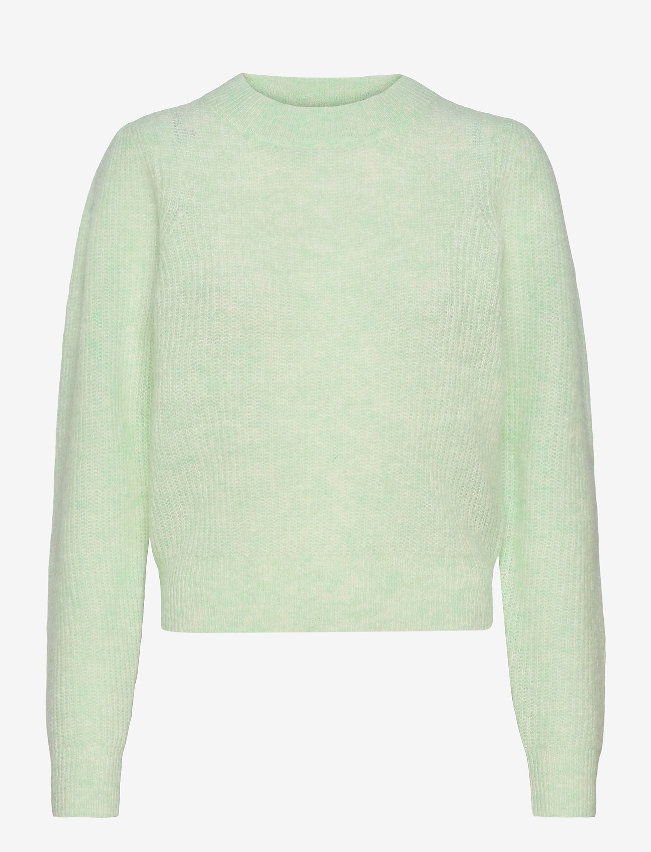 Second Female - Brooky Knit Puff O-Neck - tröjor - clearly aqua - 0