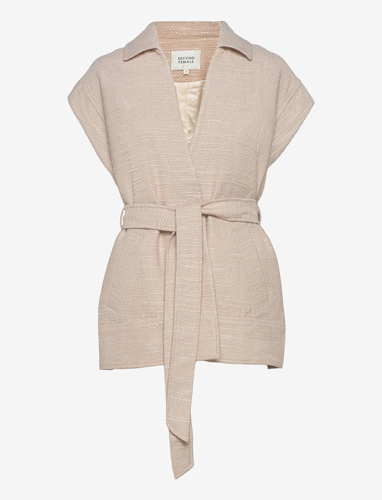 Second Female - Hilla Waistcoat - stickade västar - cement - 1