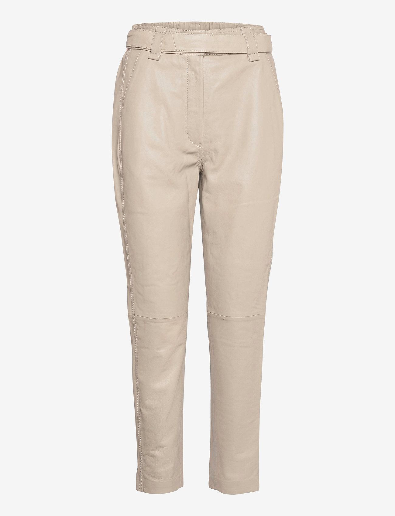 Second Female - Indie Leather New Trousers - læderbukser - humus - 0