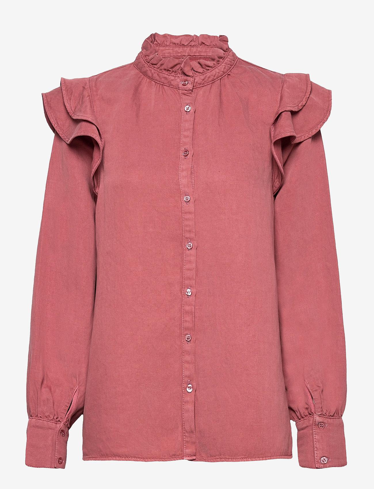 Second Female - Bella New Shirt - långärmade blusar - roan rouge - 0