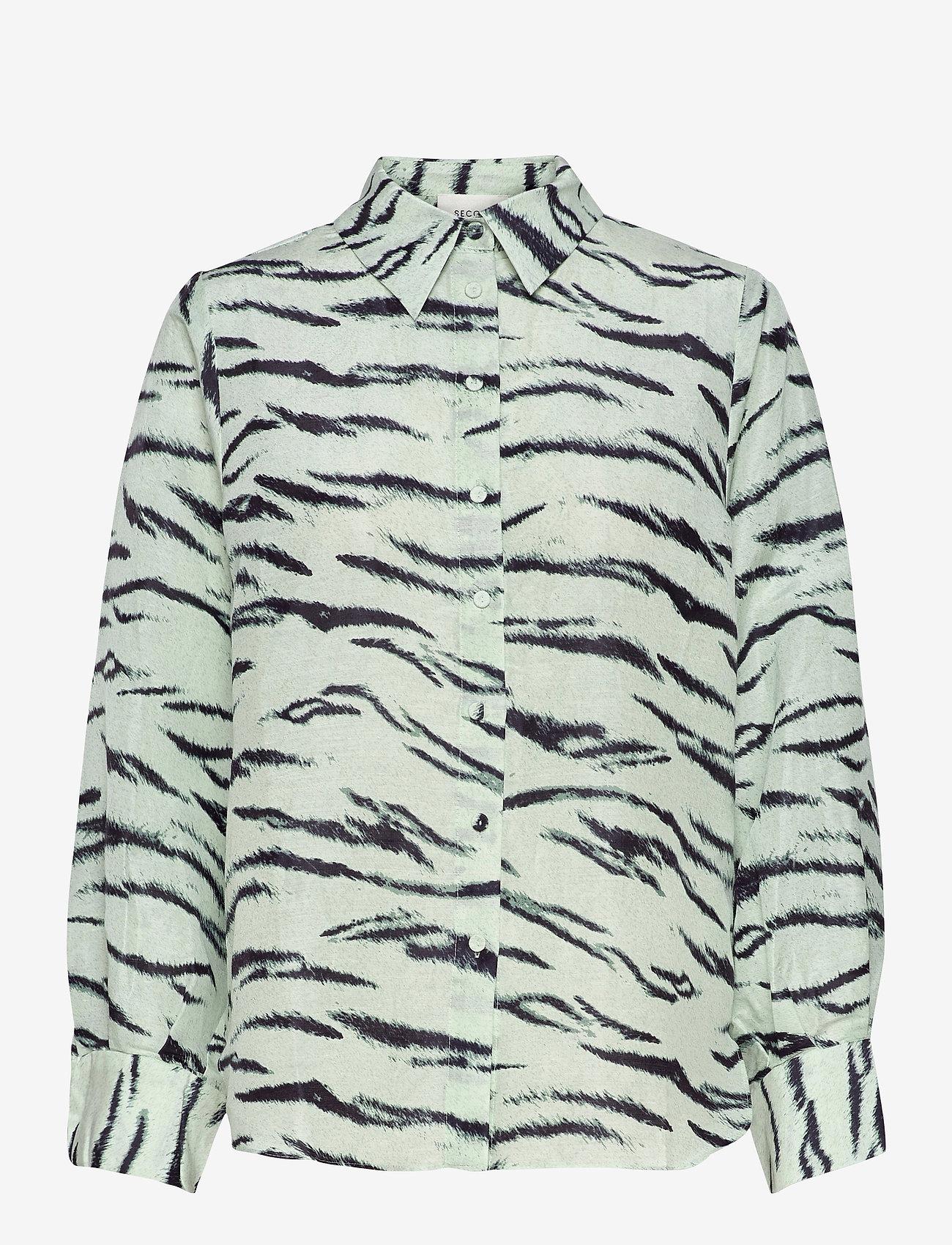 Second Female - Tiger Shirt - långärmade skjortor - clearly aqua - 0