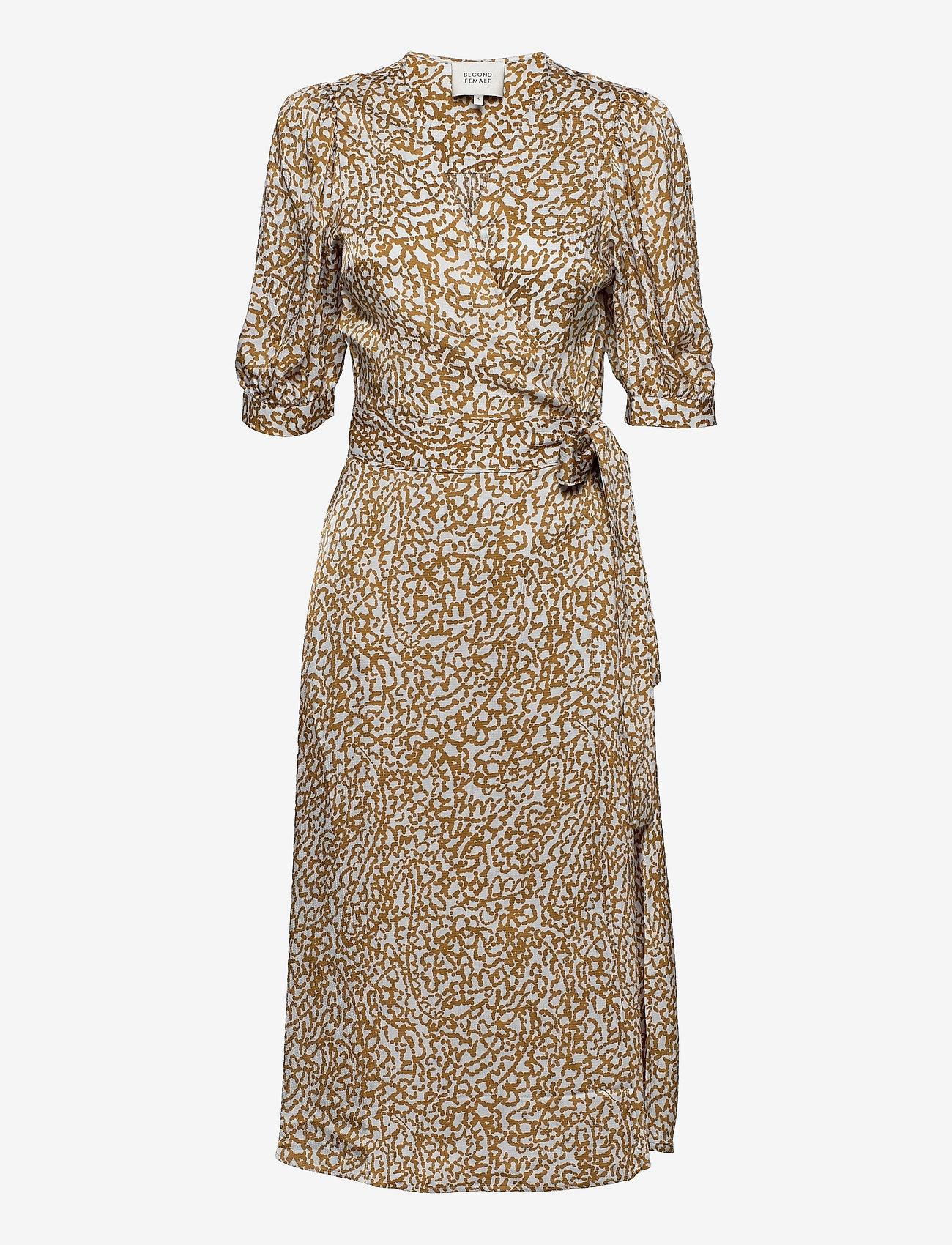 Second Female - Granada Wrap Dress - sommarklänningar - bronze brown - 1
