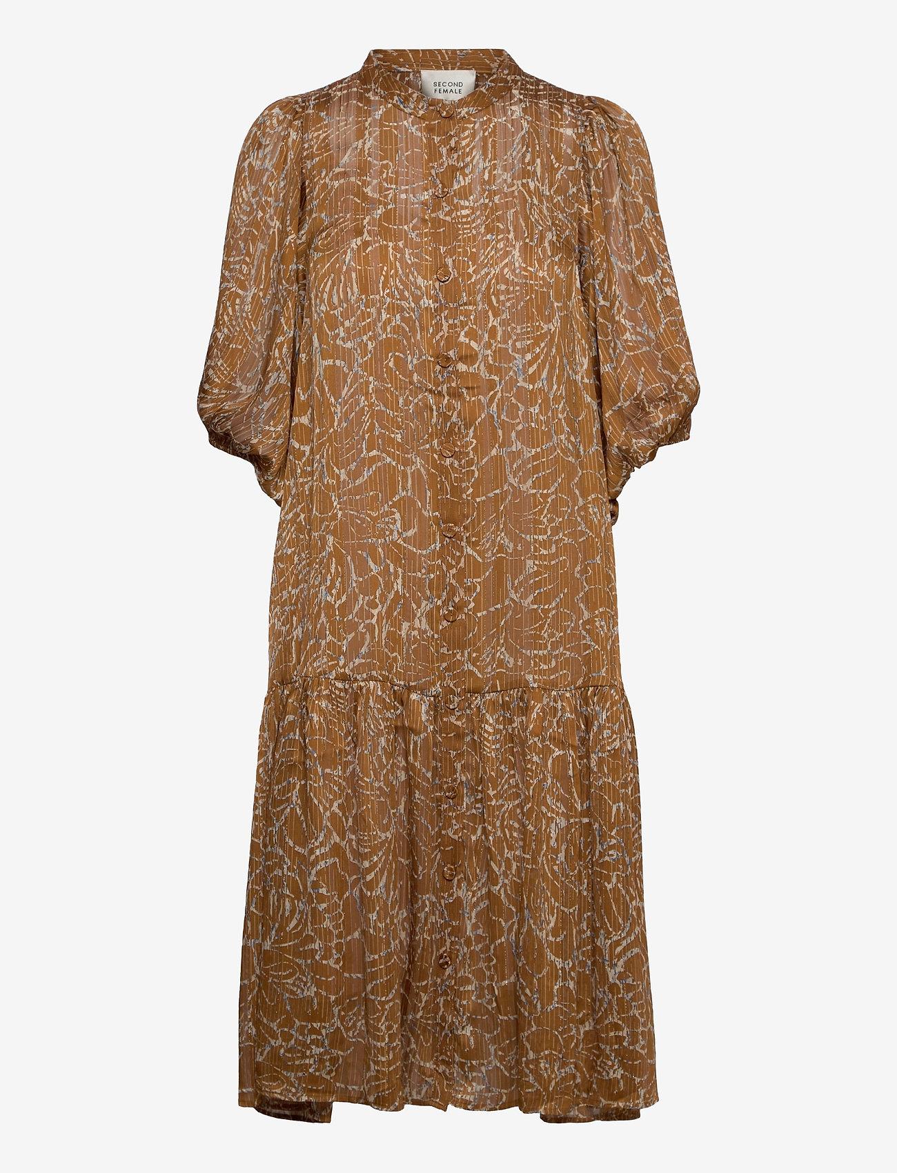 Second Female - Fijito Dress - vardagsklänningar - bronze brown - 0