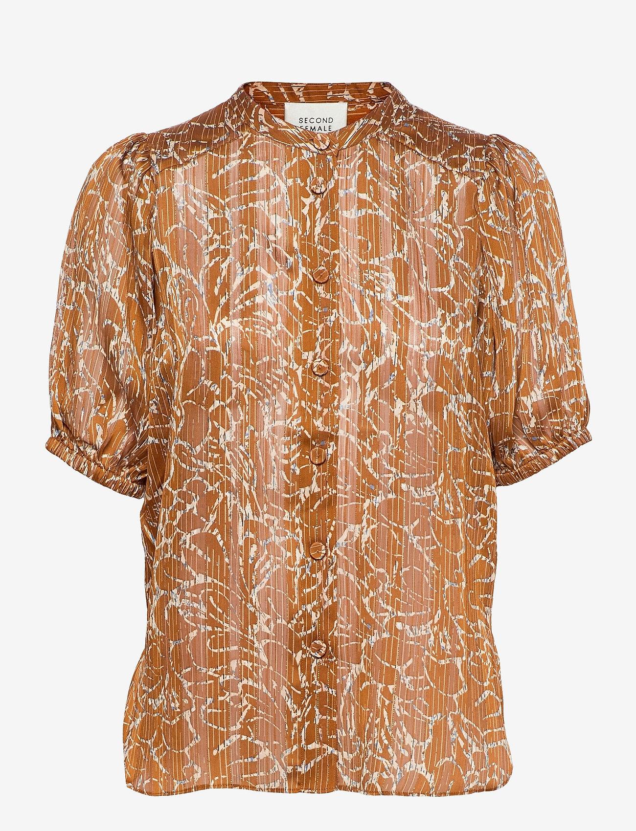 Second Female - Fijito Shirt - kortärmade blusar - bronze brown - 0