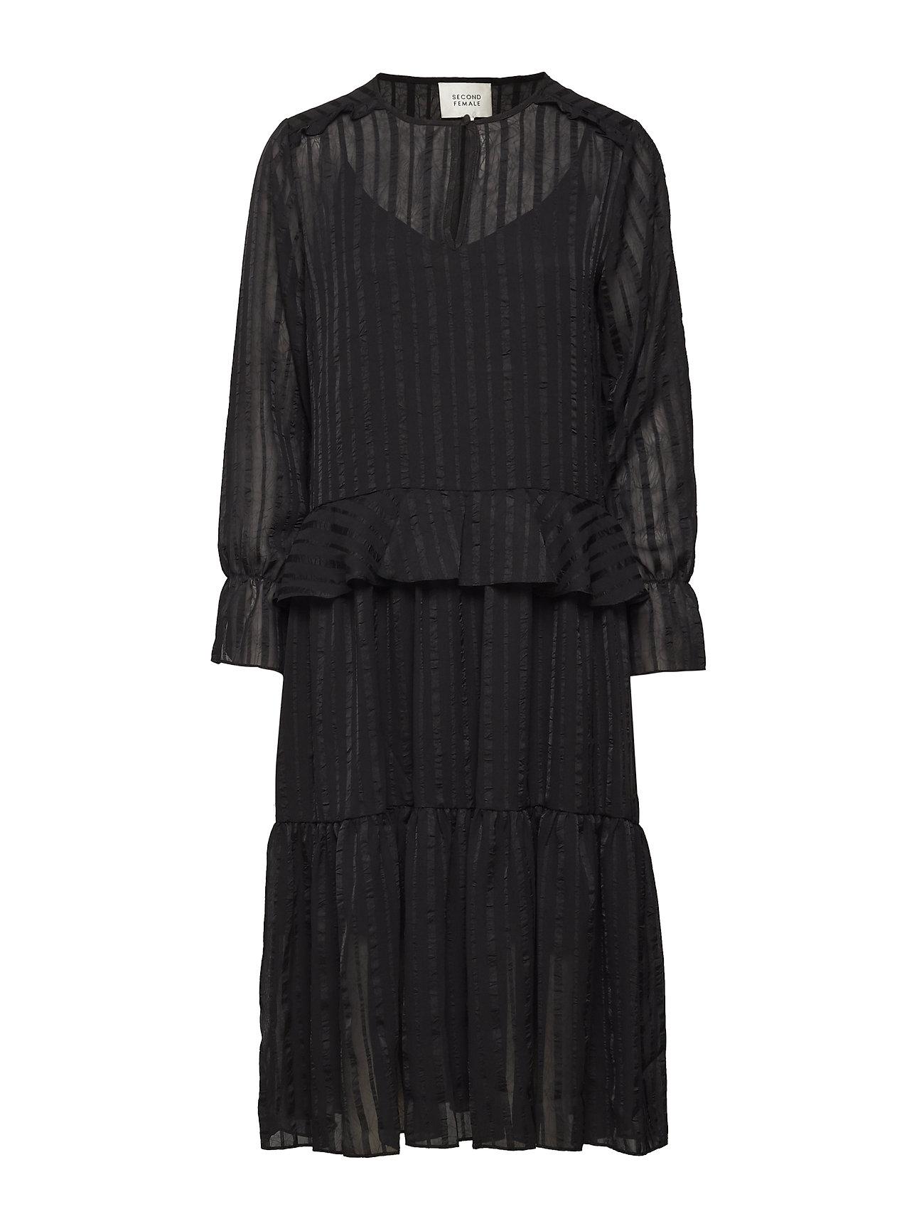 Second Female Honey Midi Dress - BLACK
