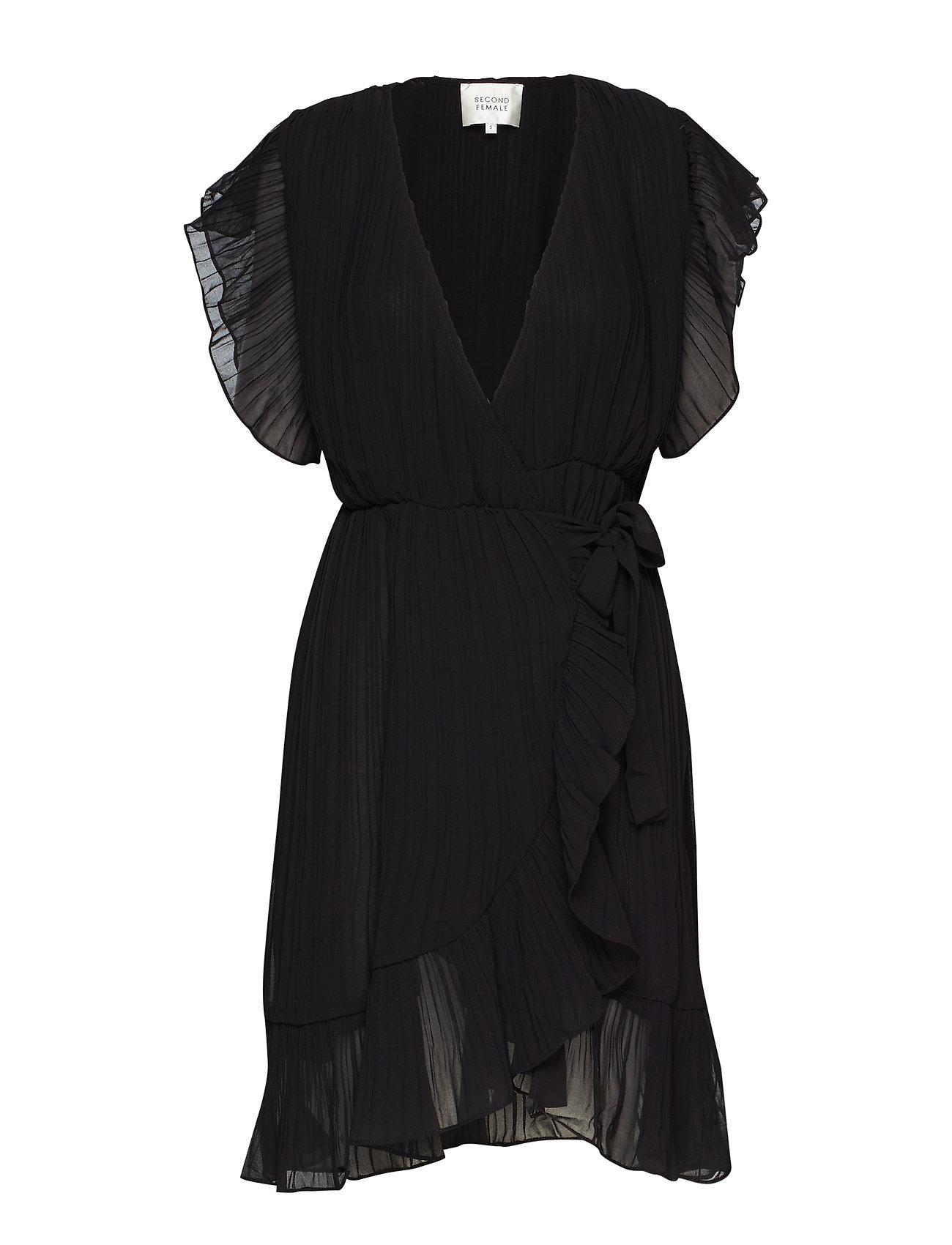 Second Female Mounce Wrap Dress - BLACK