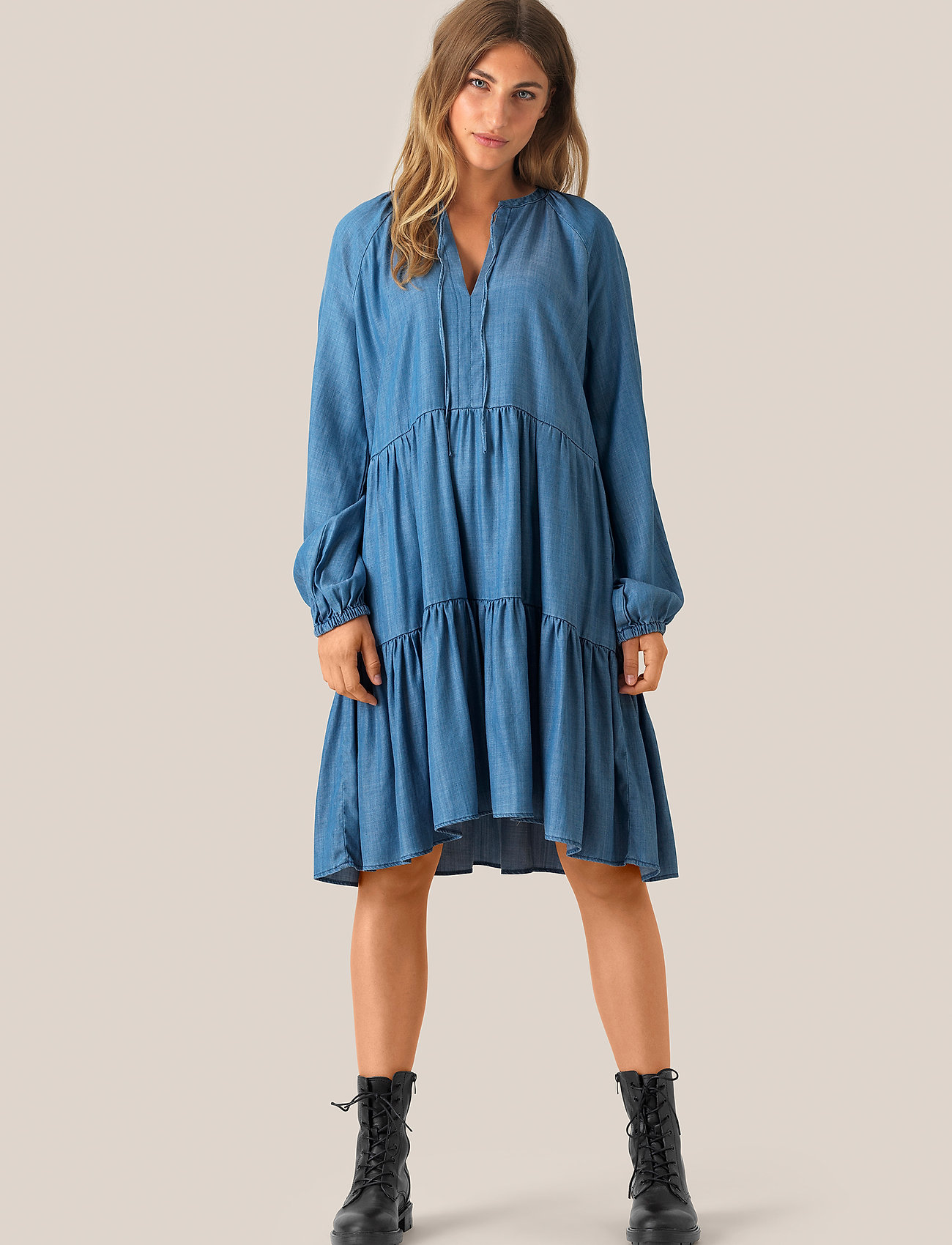 Second Female - Lilla LS Dress - denimkjoler - blue denim - 0