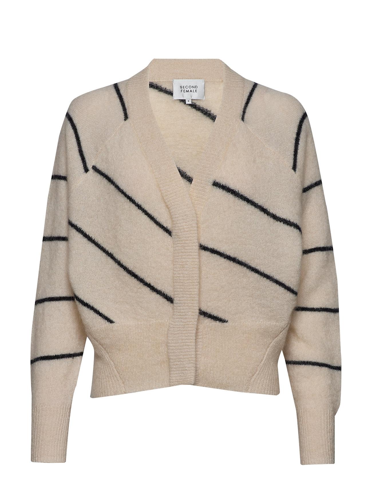 Second Female Brook Knit Striped Boxy Cardigan - EGGNOG