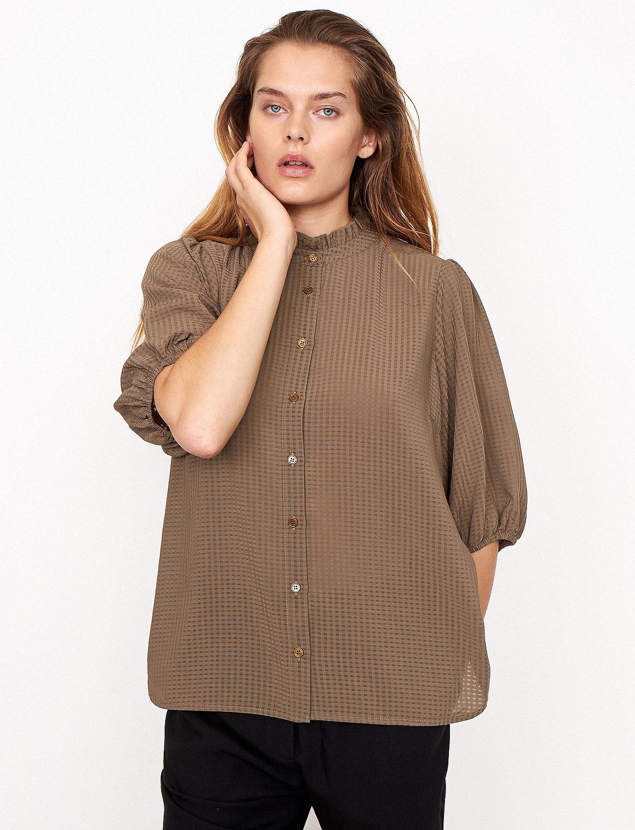 Second Female - Tara SS Shirt - kortärmade blusar - stone green - 0