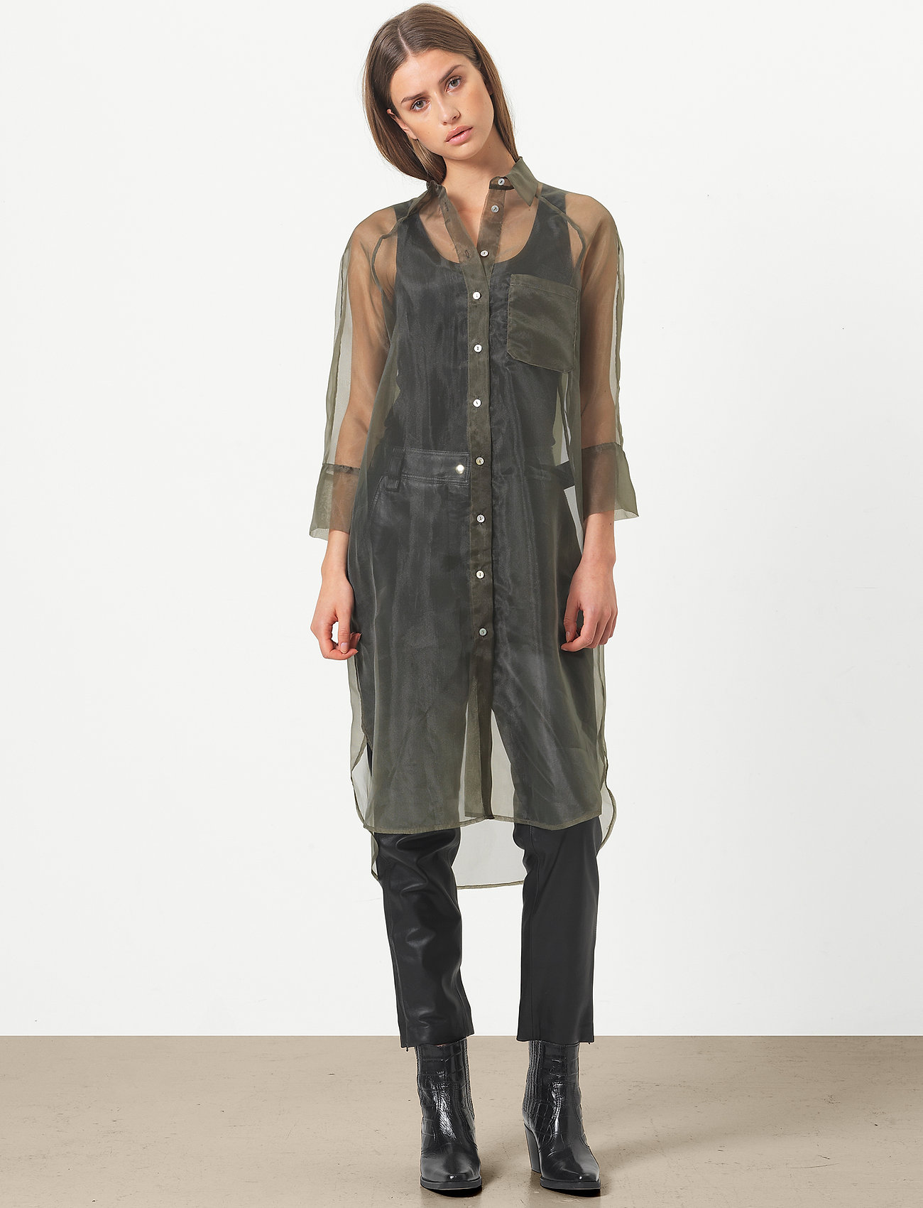 Second Female - Opal Shirt Dress - midiklänningar - black - 0