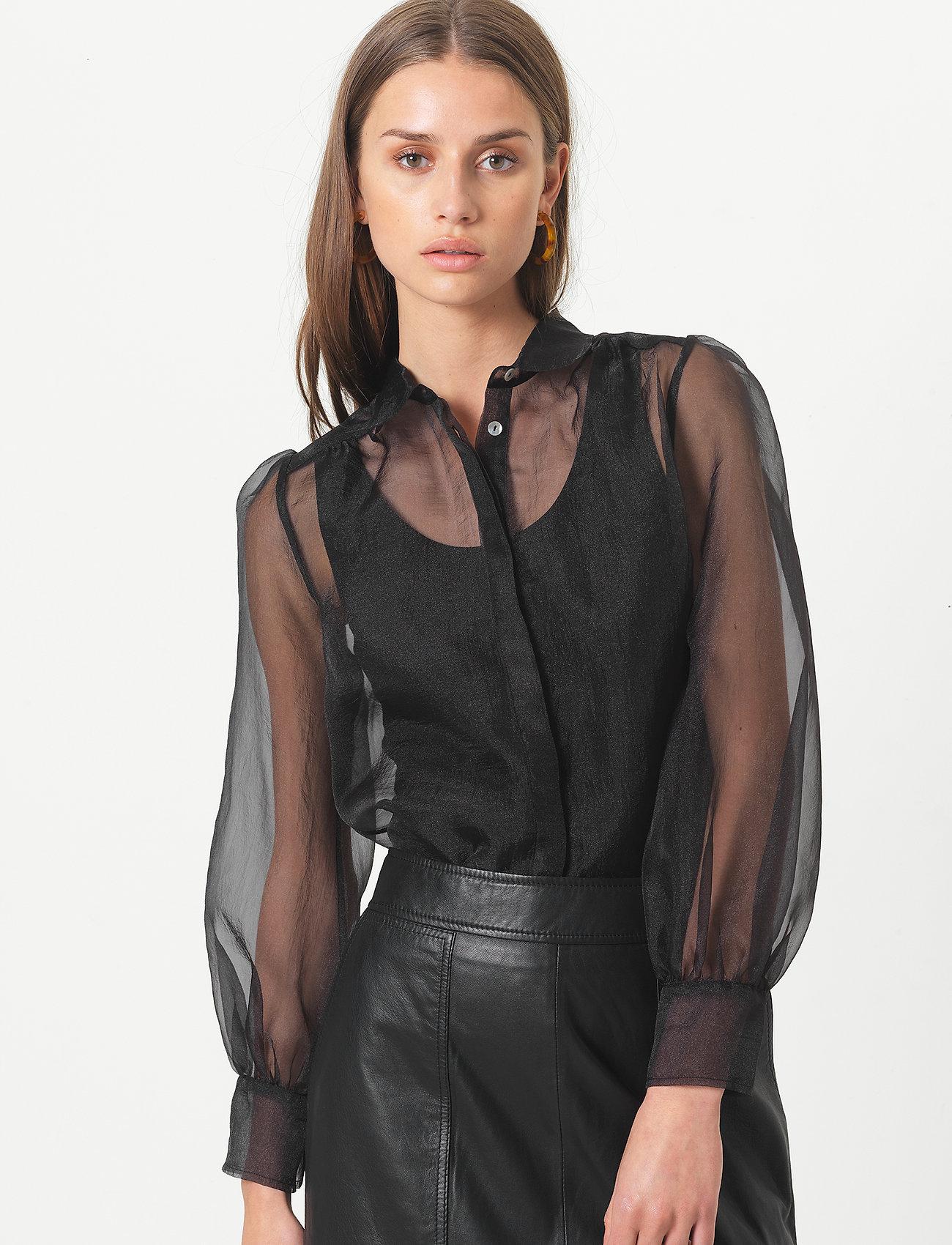 Second Female - Opal Shirt - långärmade blusar - black - 0