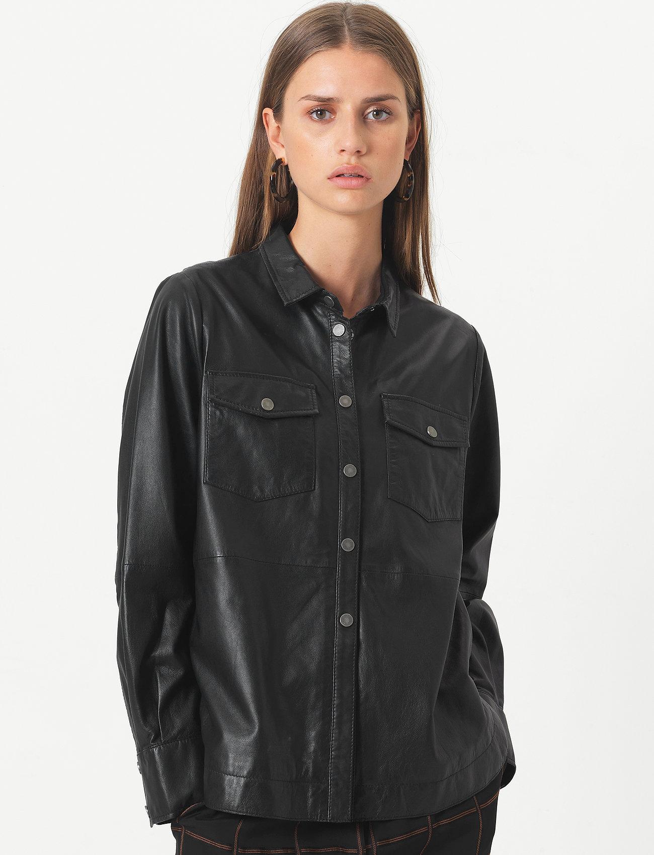 Second Female - Gitte Leather Shirt - langærmede skjorter - black - 0