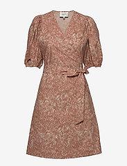 Second Female - Straw SS Short Dress - slå-om-kjoler - mocha mousse - 0