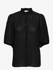 Second Female - Tara SS Shirt - kortärmade blusar - black - 0