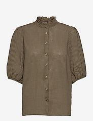 Second Female - Tara SS Shirt - kortärmade blusar - stone green - 1