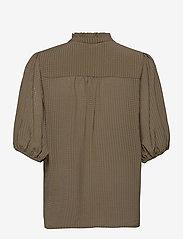 Second Female - Tara SS Shirt - kortärmade blusar - stone green - 2
