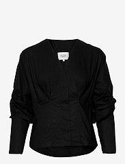 Second Female - Addison Shirt - långärmade blusar - black - 0